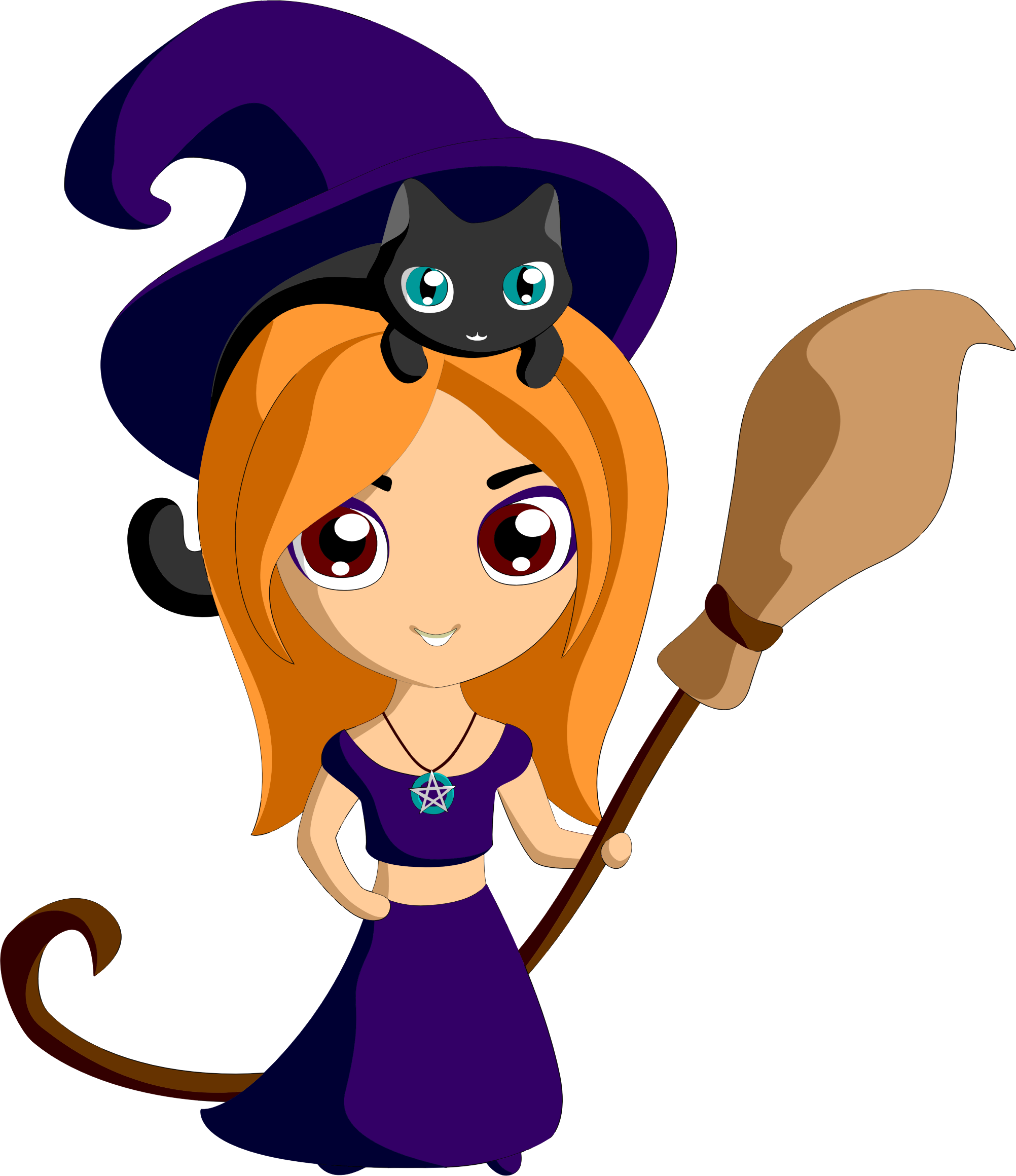 Clipart - Cute Witch By iirliinnaa