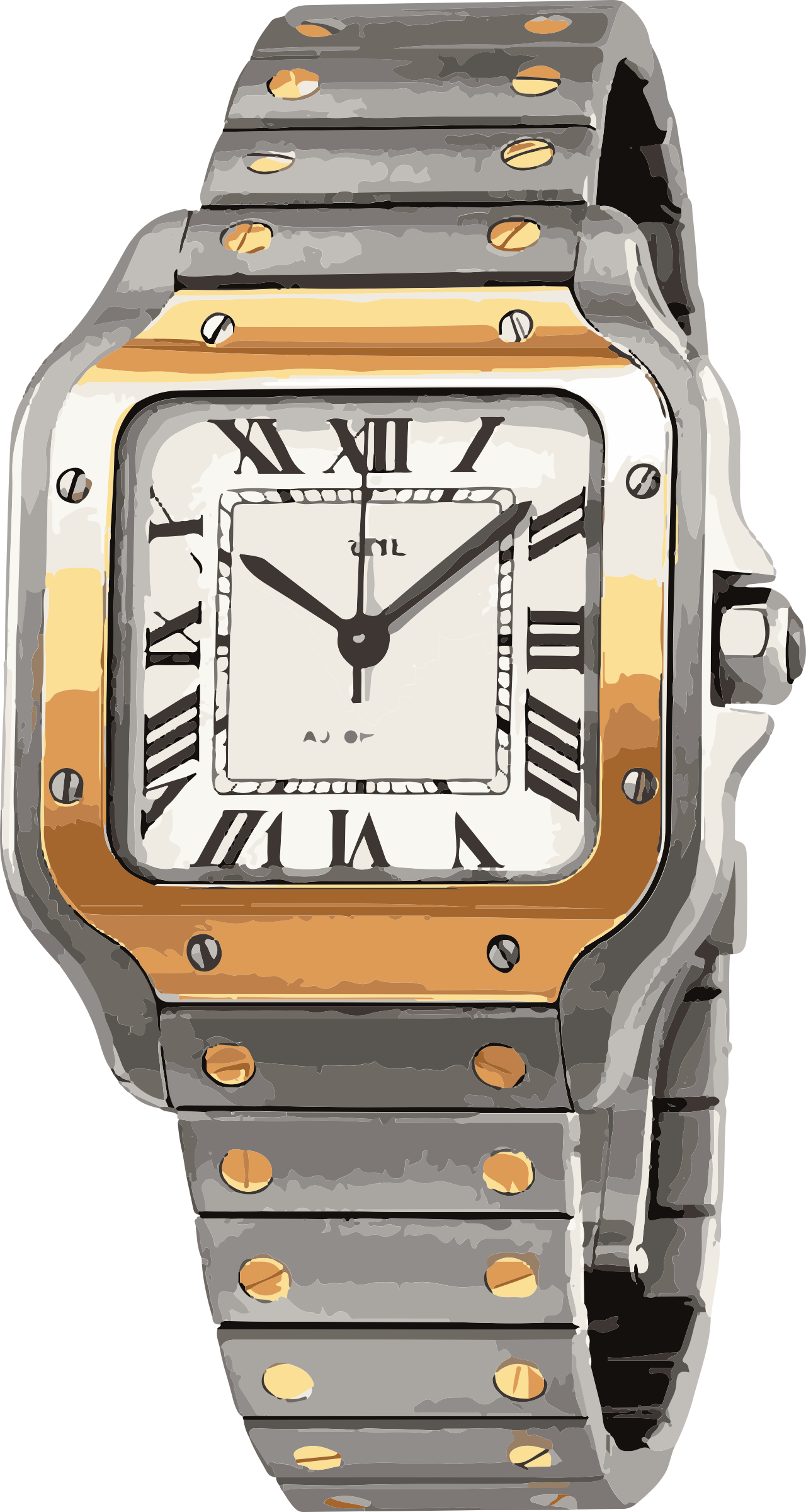 swiss watch in white gold and yellow gold with screws - horlogerie by swissboy