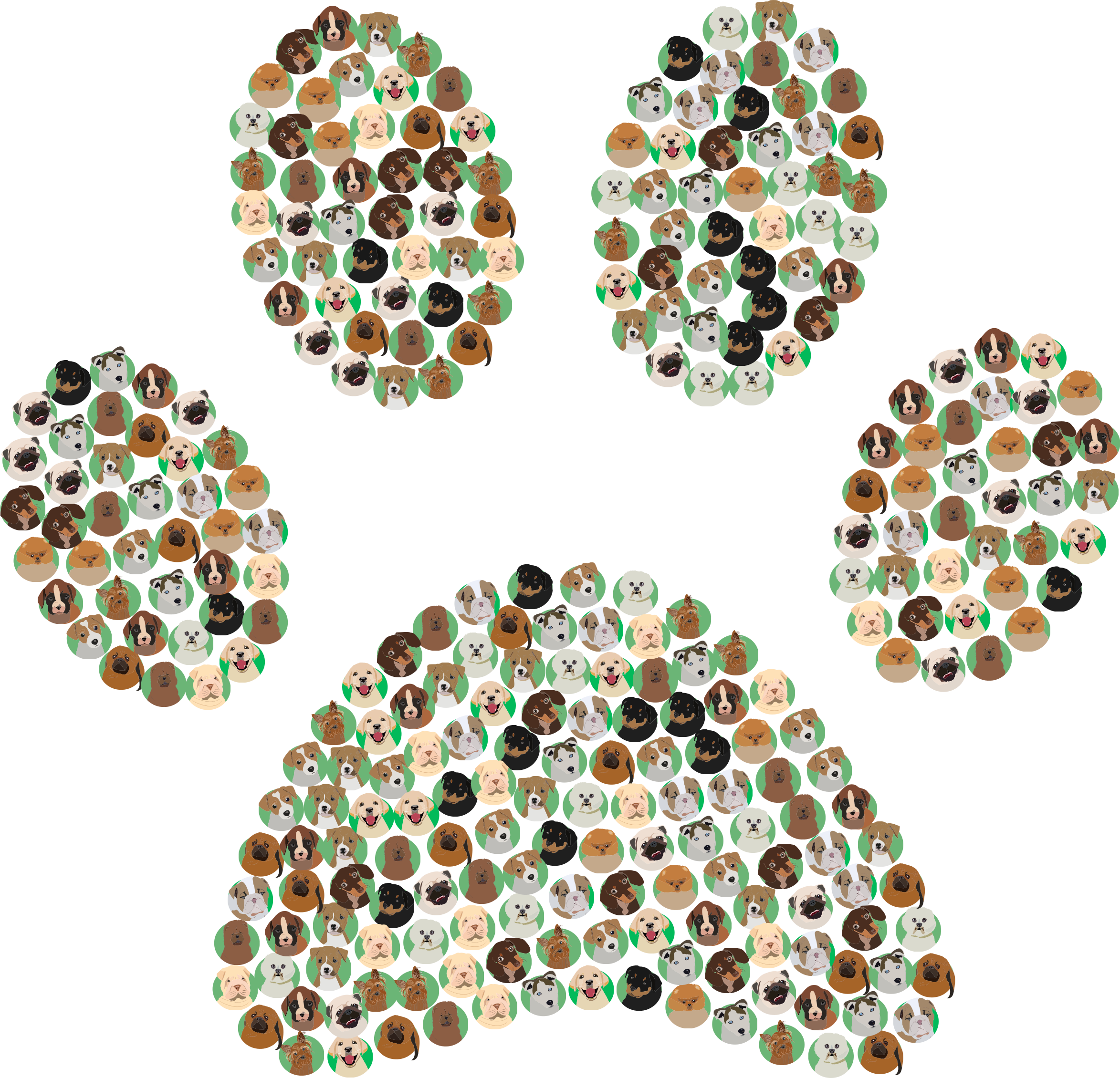 Dog Breeds Icons Paw Print by GDJ
