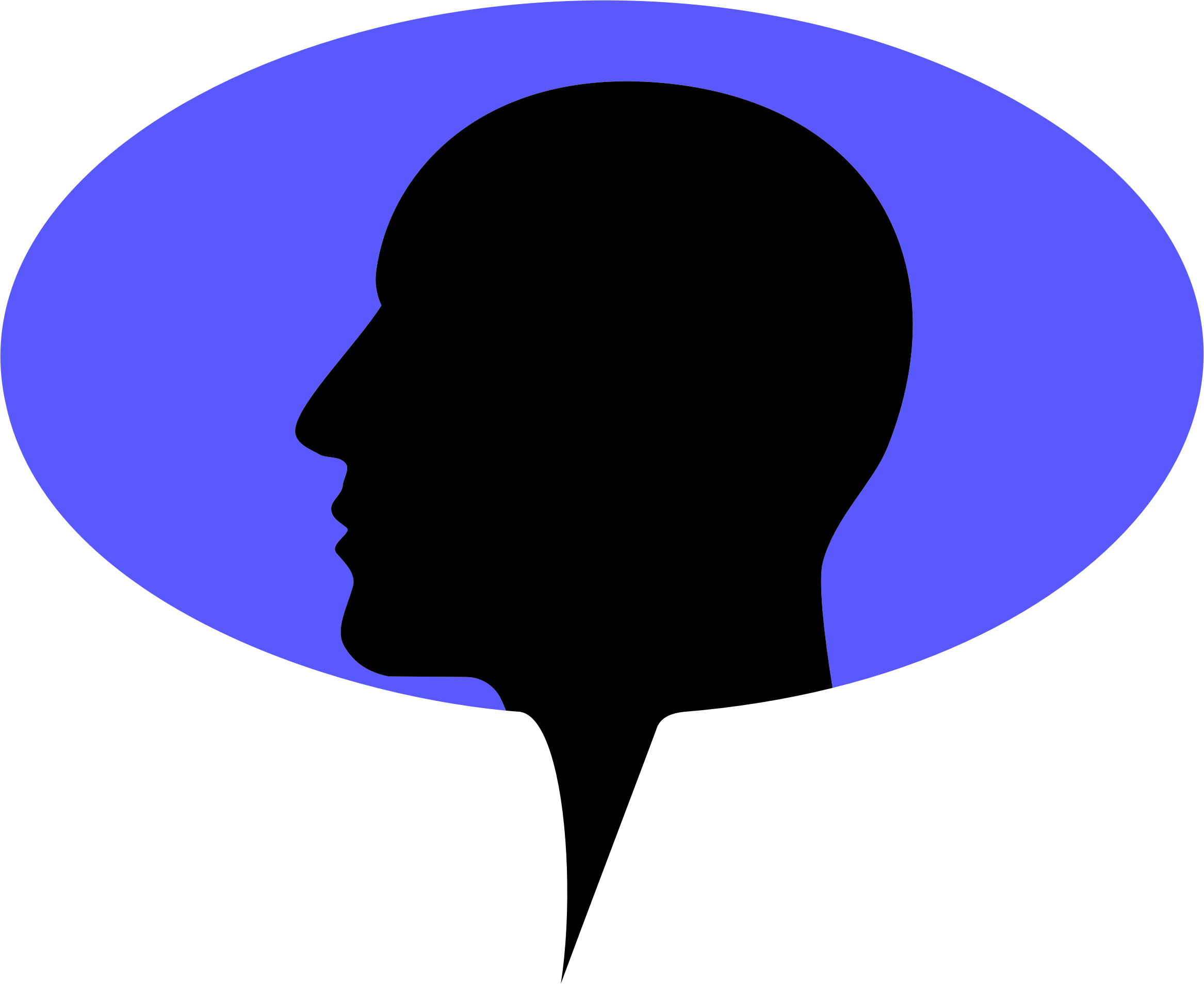 Man Head Silhouette Speech Bubble by GDJ