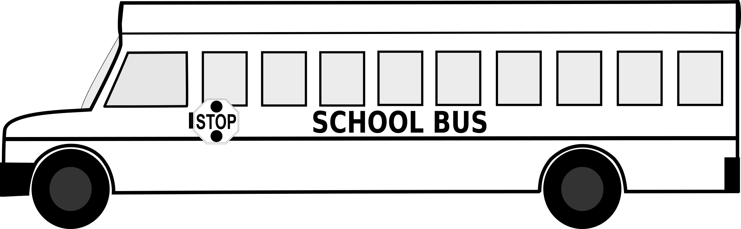 Big School Bus Black and White Free Clipart Icon by schoolfreeware