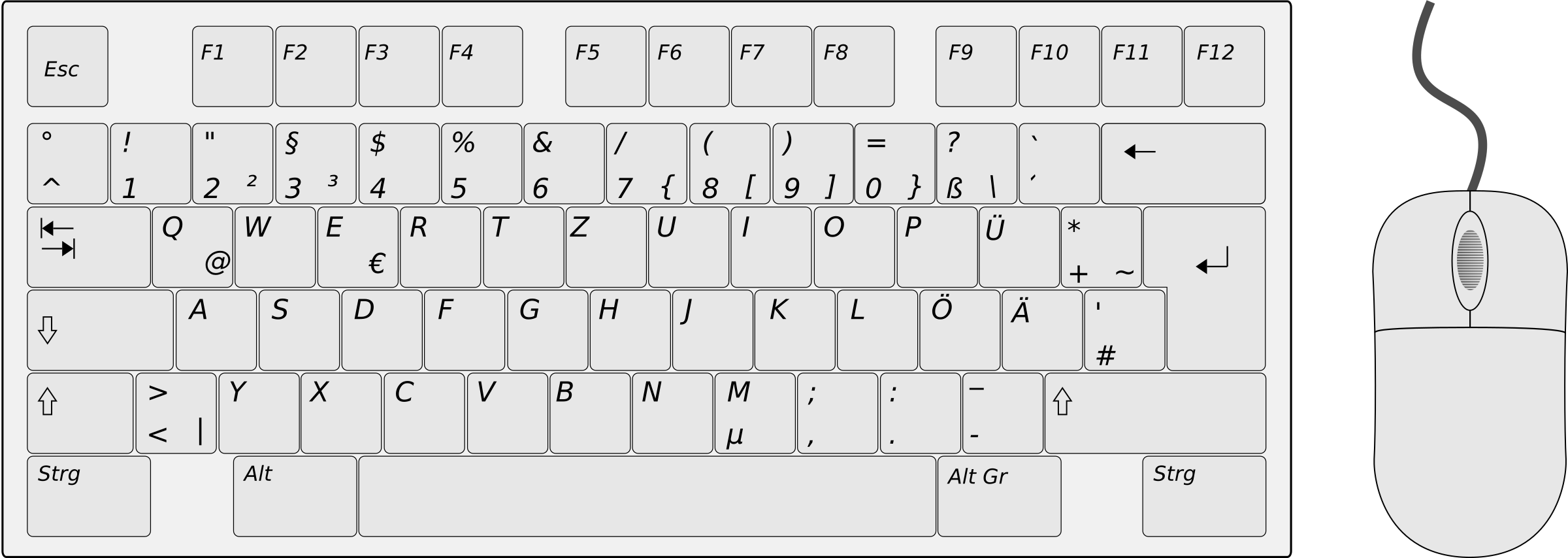 German Keyboard Left Side with Mouse by qubodup