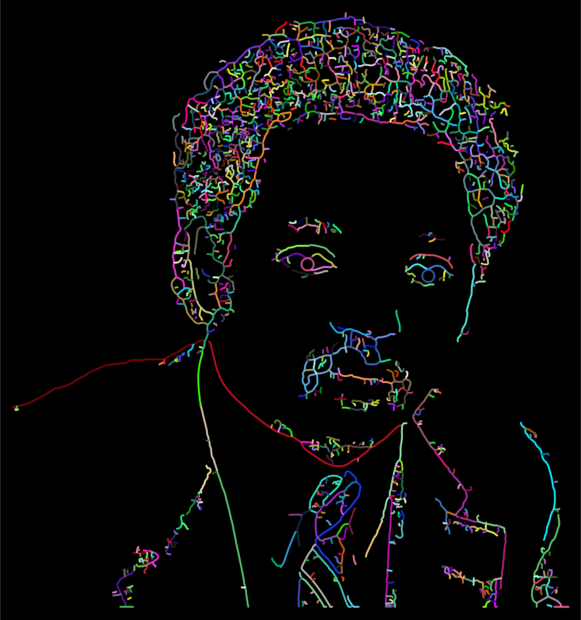 Jesse Jackson Portrait Line Art Prismatic by GDJ
