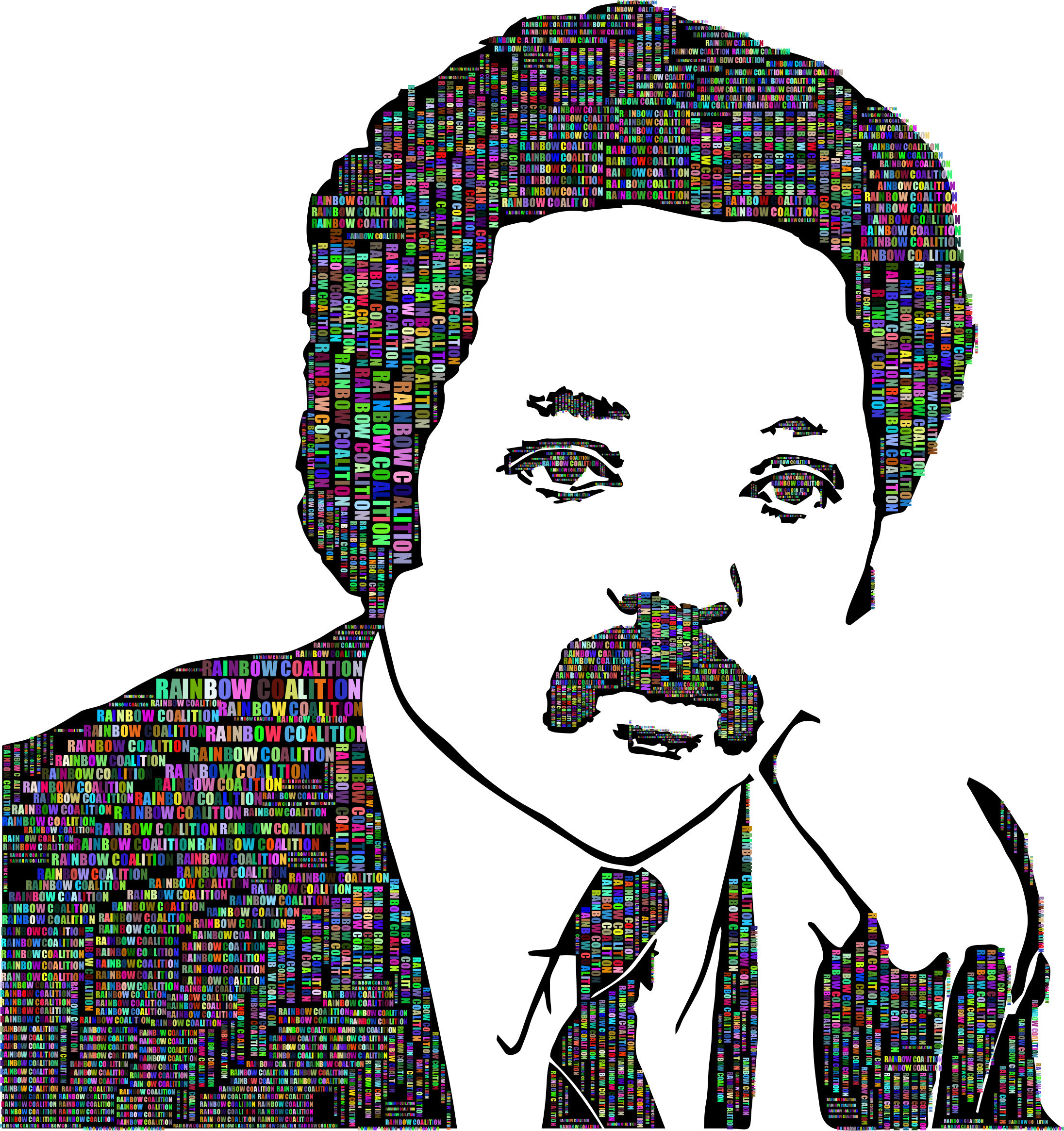 Jesse Jackson Portrait Typography Prismatic With Silhouette by GDJ
