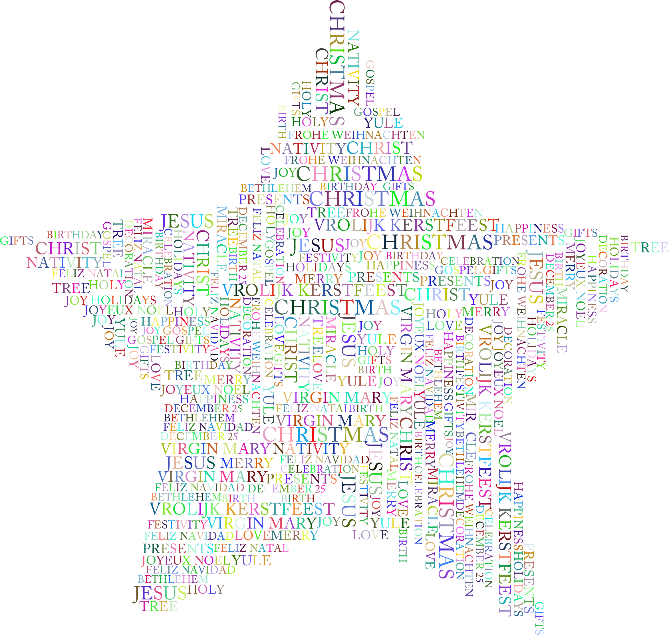 clipart christmas star word cloud prismatic