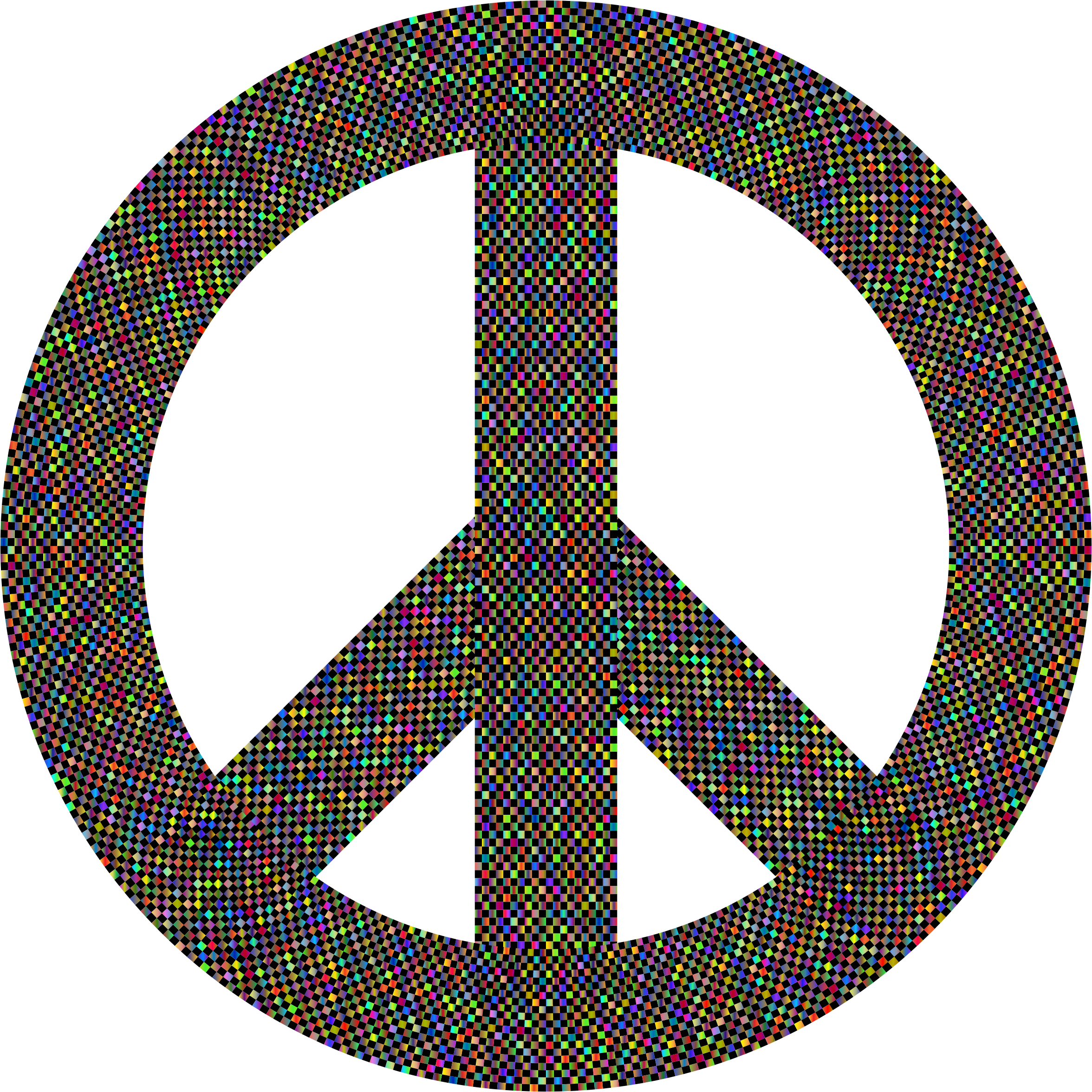 Peace Sign Checkerboard Polyprismatic by GDJ