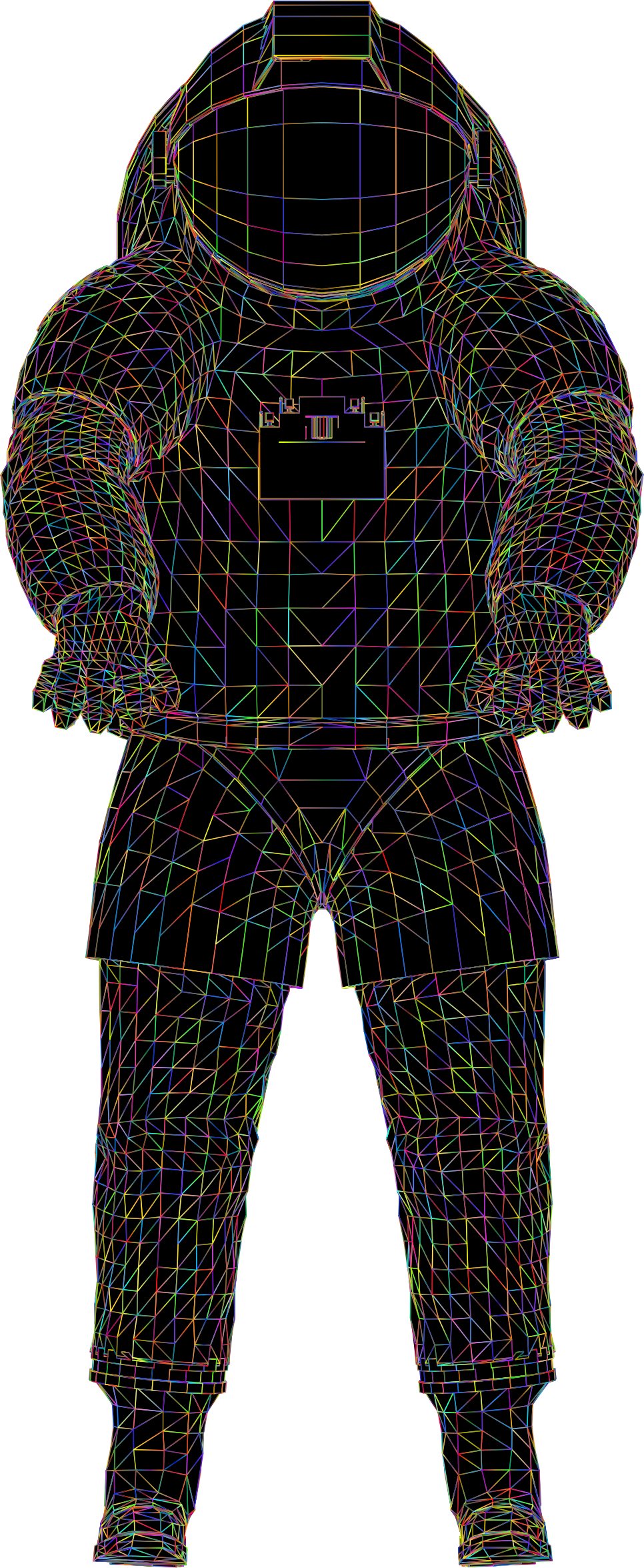 Nasa Spacesuit 3D Wireframe Polyprismatic With BG by GDJ