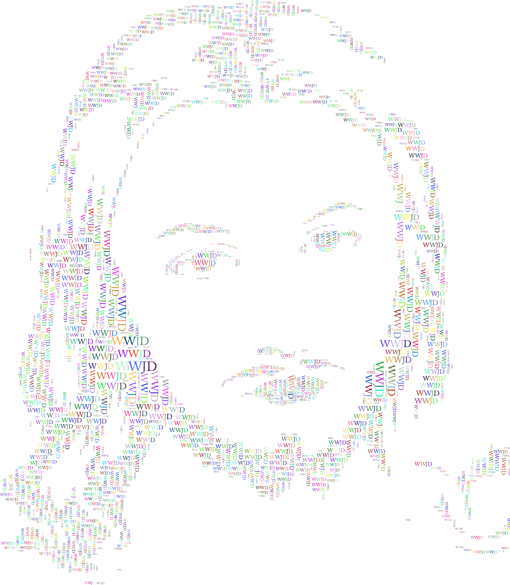 Jesus Christ Face Typography Prismatic by GDJ