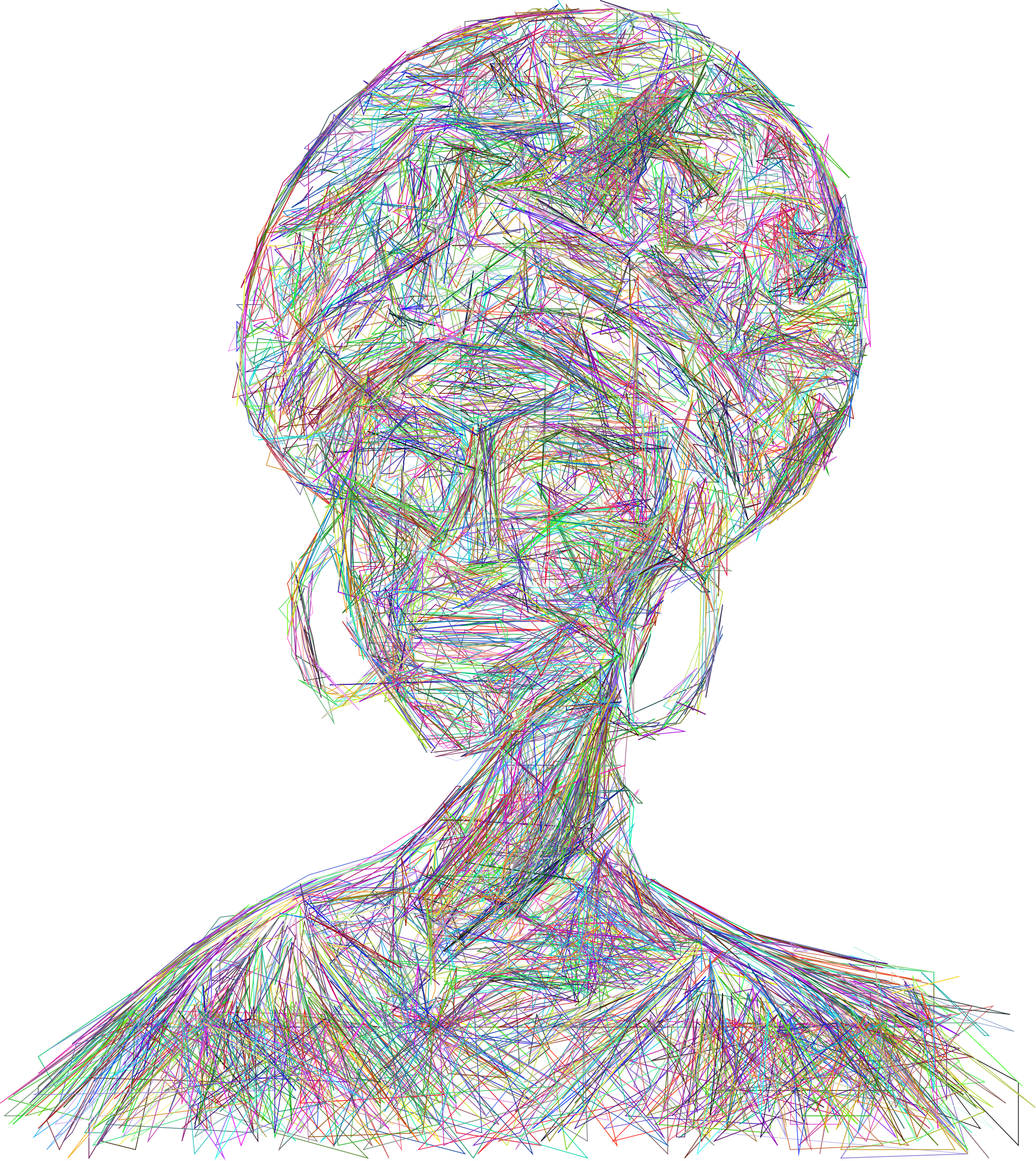 African Woman Illustration Geometric Wireframe Prismatic by GDJ