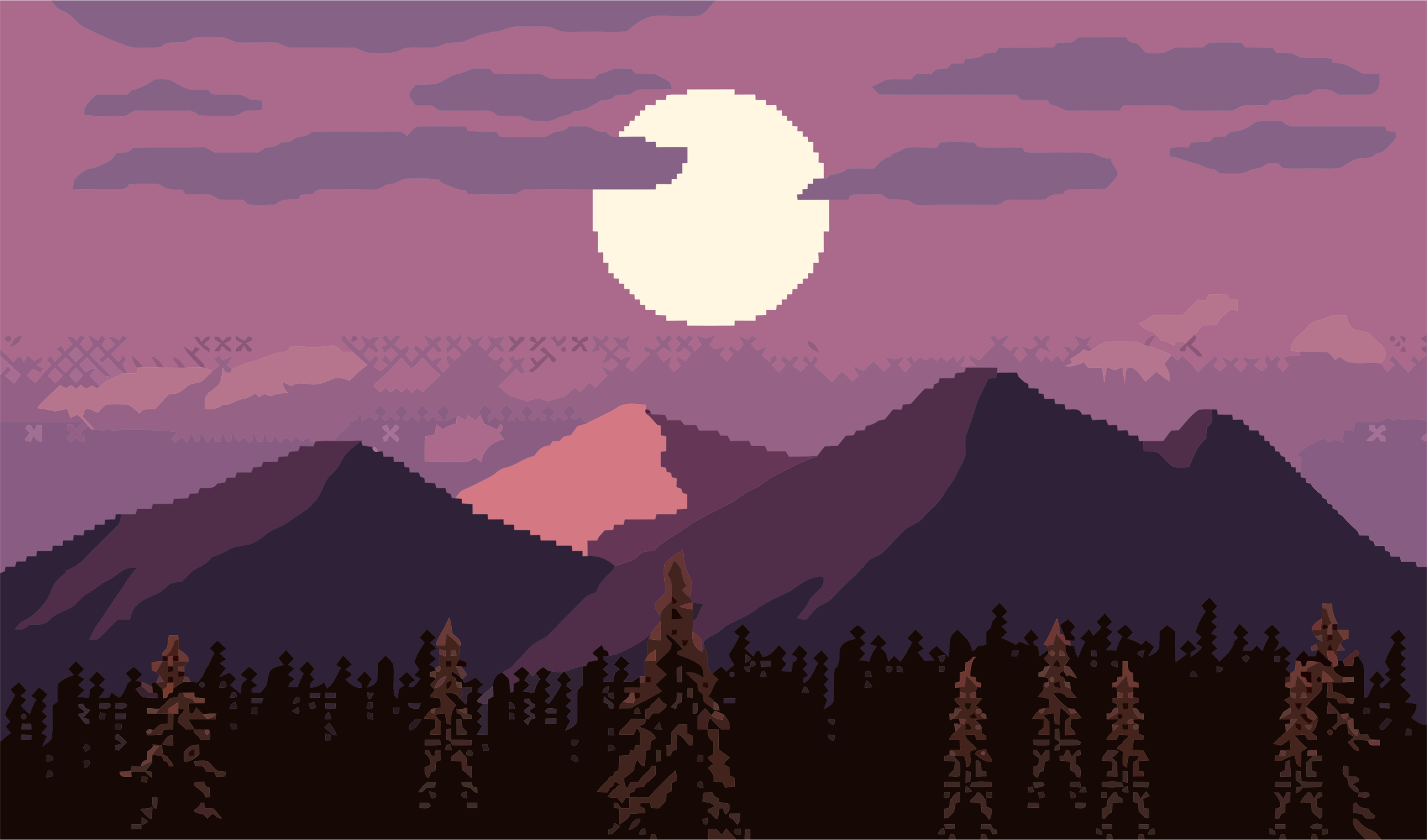 Parallax Mountain At Dusk Pixel Art by GDJ