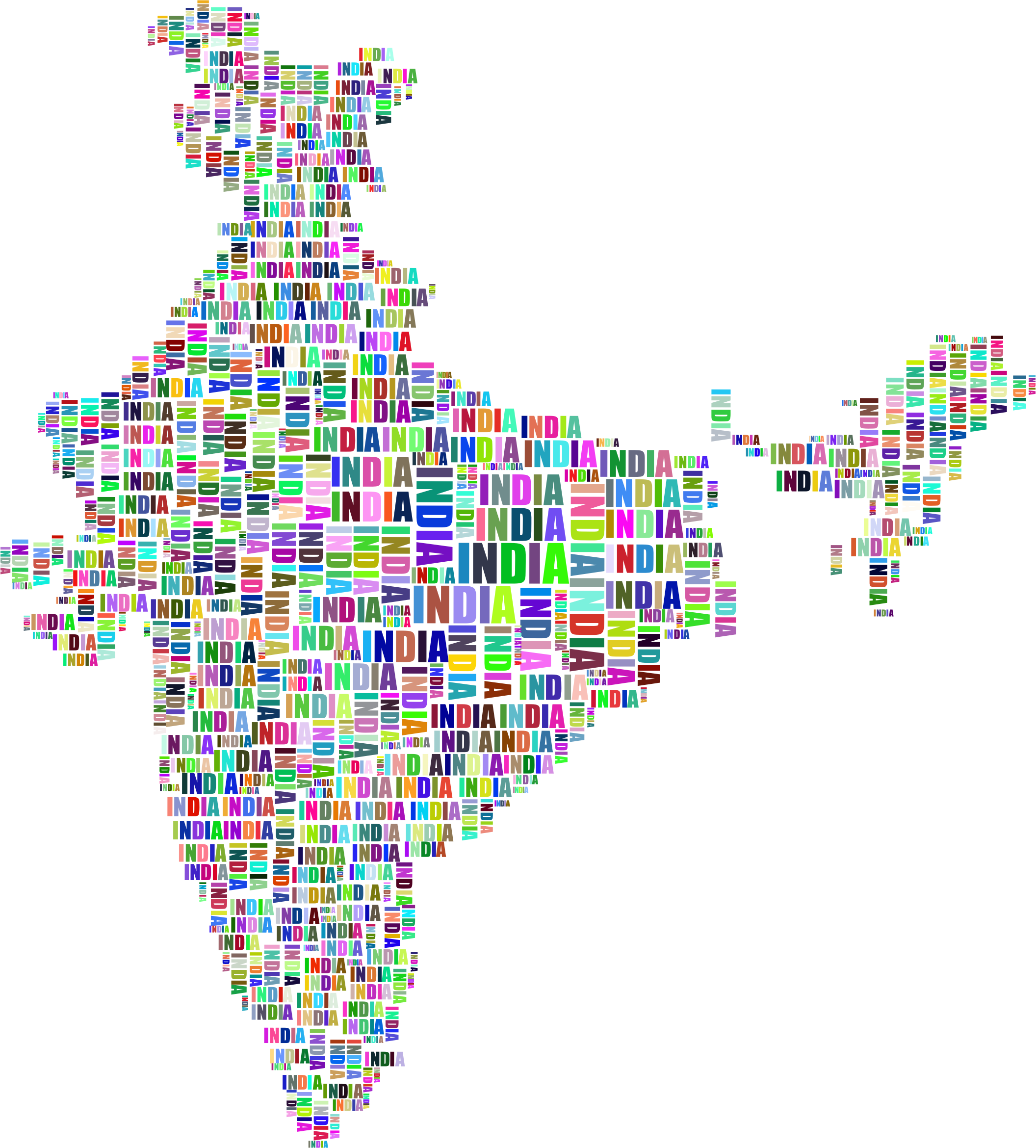 India Map Typography Prismatic by GDJ