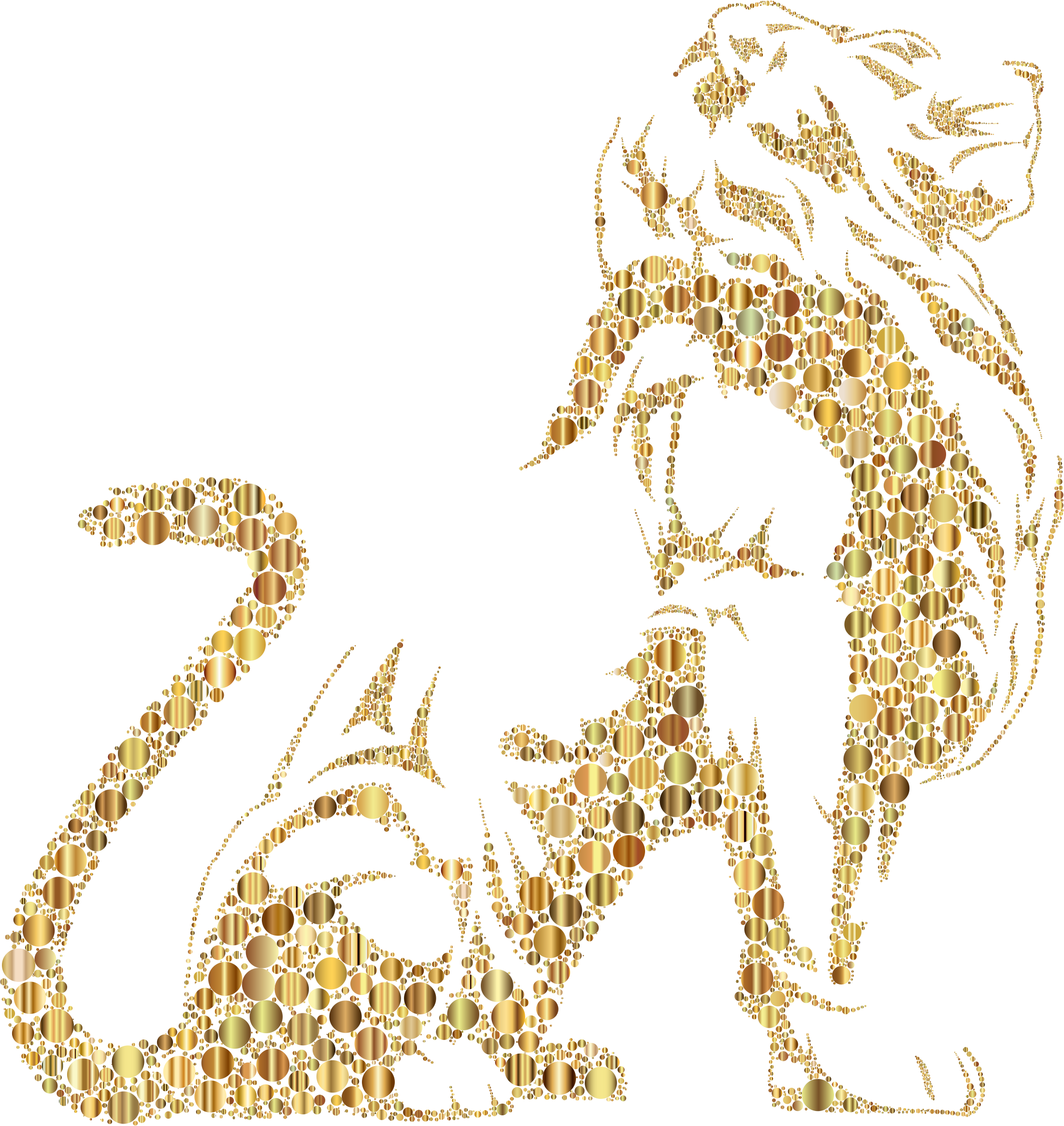 Stylistic Lion Silhouette Circles Gold No BG by GDJ