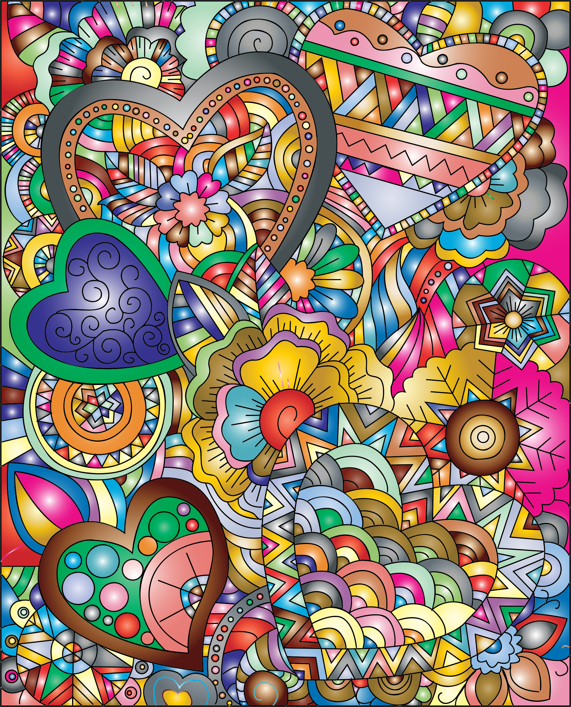 Flourish Hearts Line Art Prismatic by GDJ