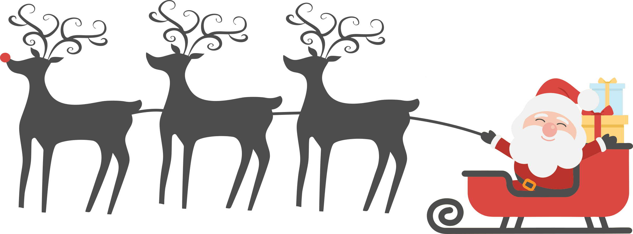 Happy Santa, Sleigh and Reindeer by j4p4n