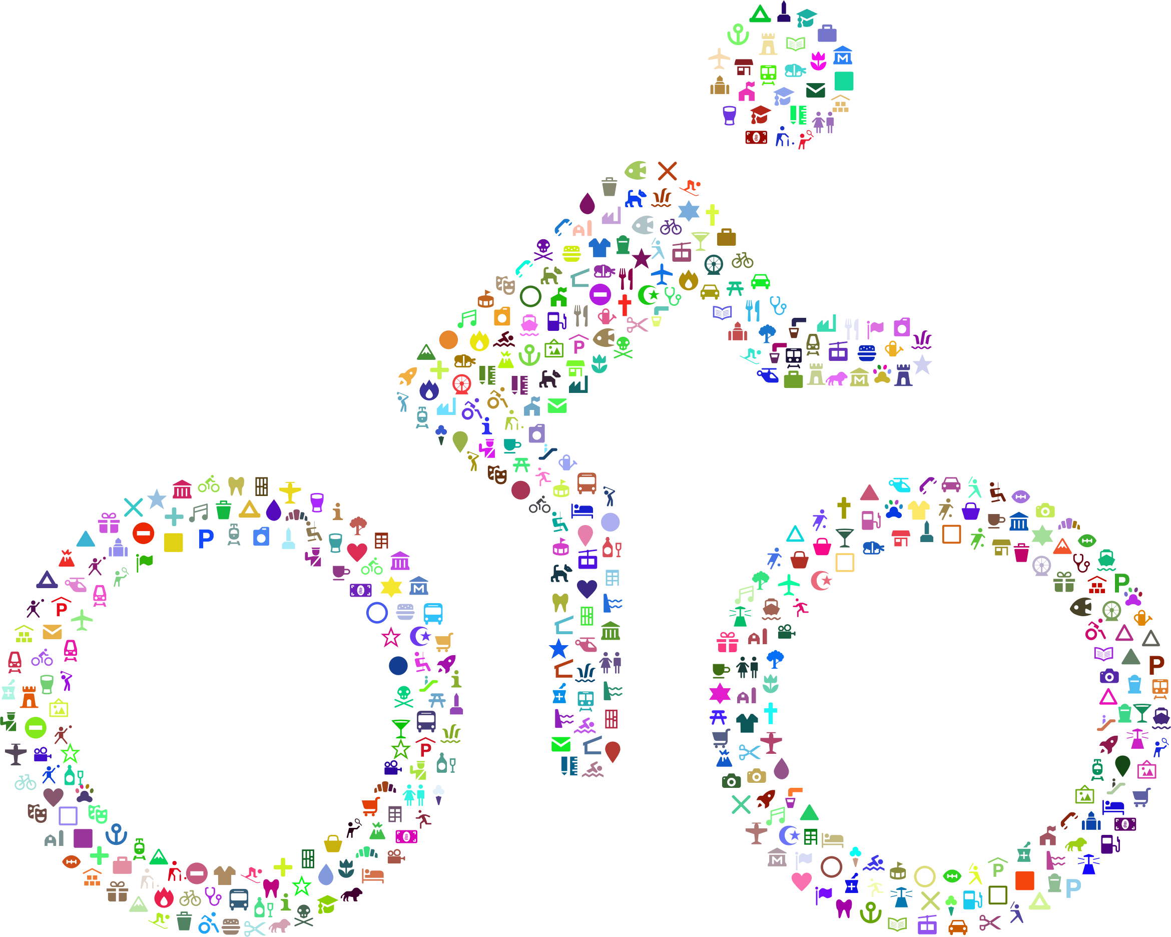 Public Domain Cyclist Icons Prismatic by GDJ