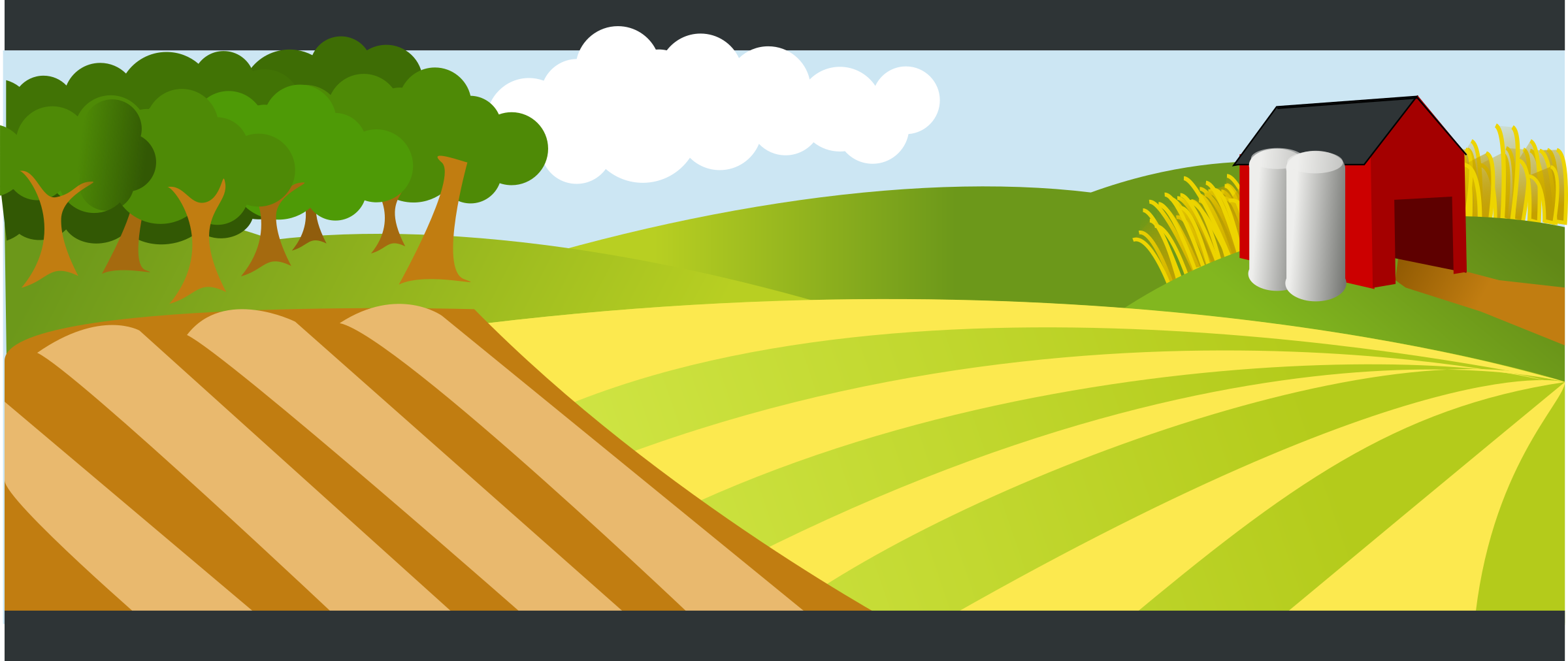 Clipart - landscape with red farm