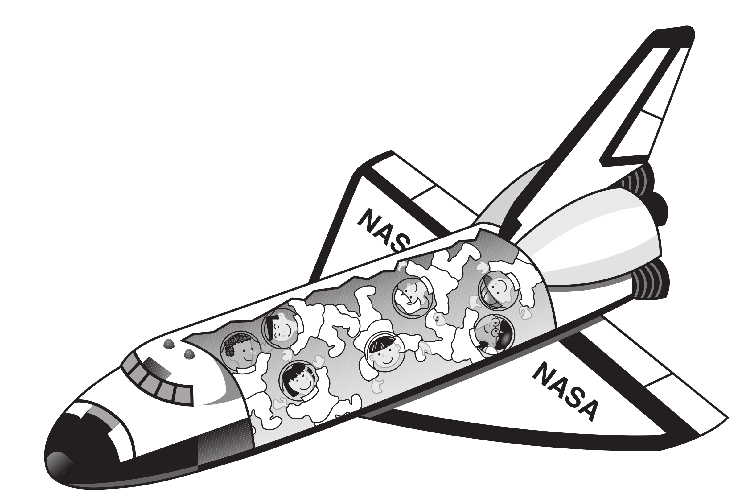 Space shuttle with kids floating inside it by rejon