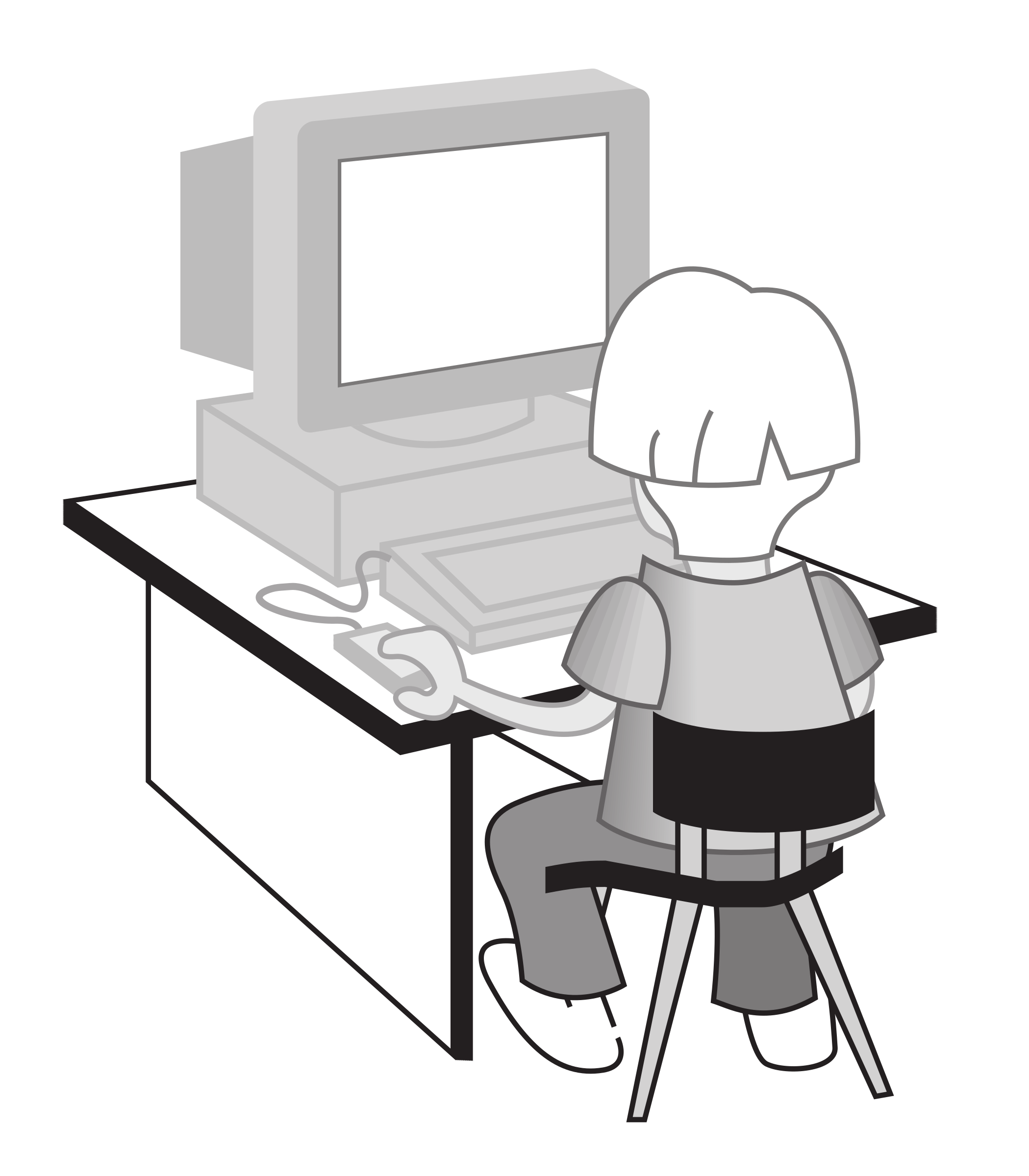 Kid at a computer by rejon