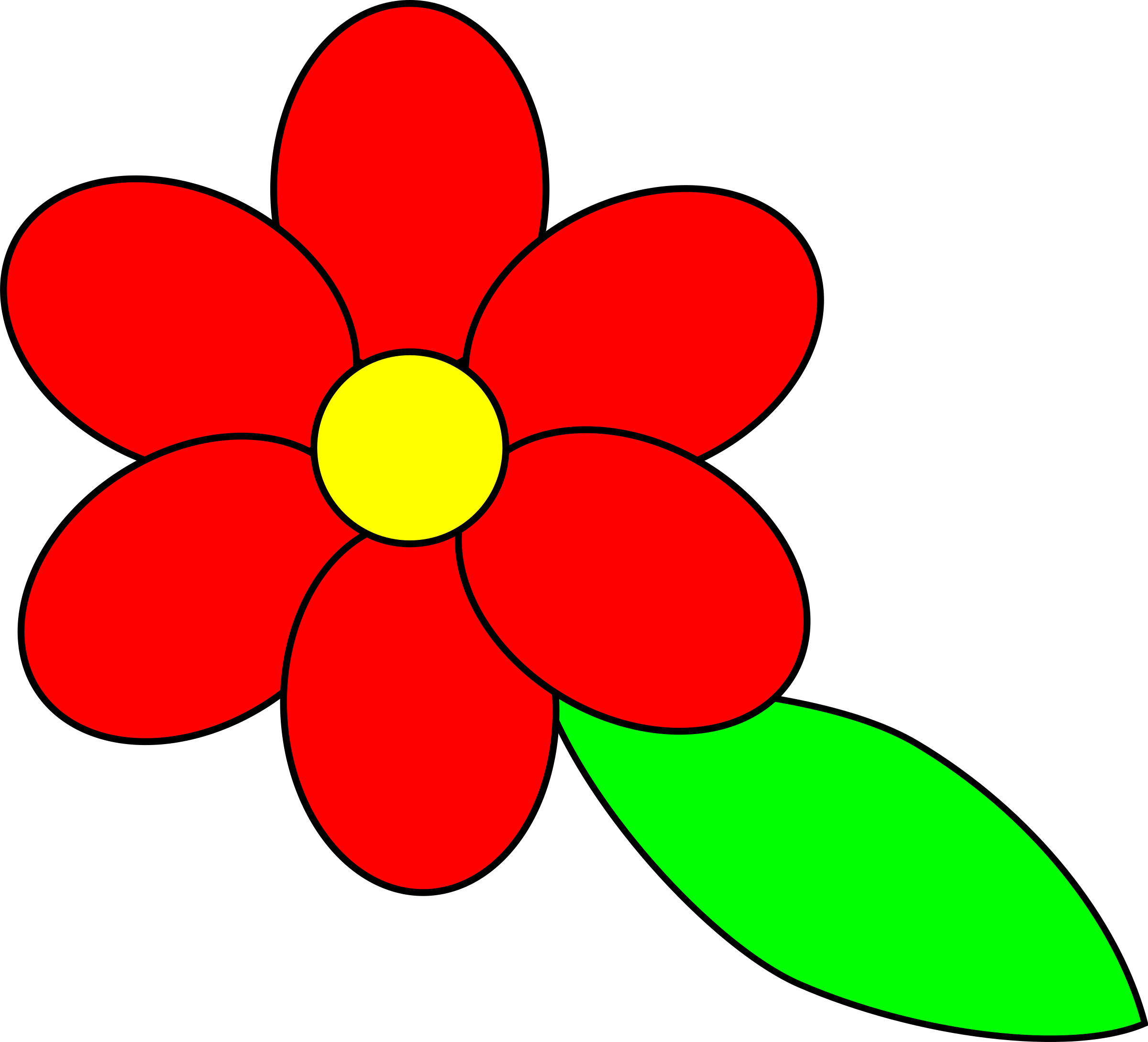 Flower six red petals black outline green leaf by palomaironique