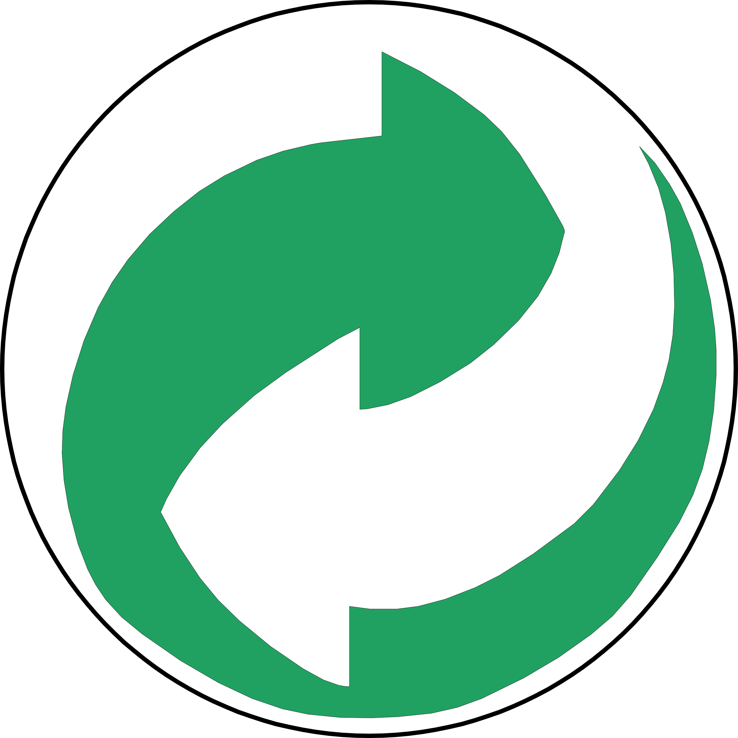Recycling Symbol Green and White Arrows by palomaironique