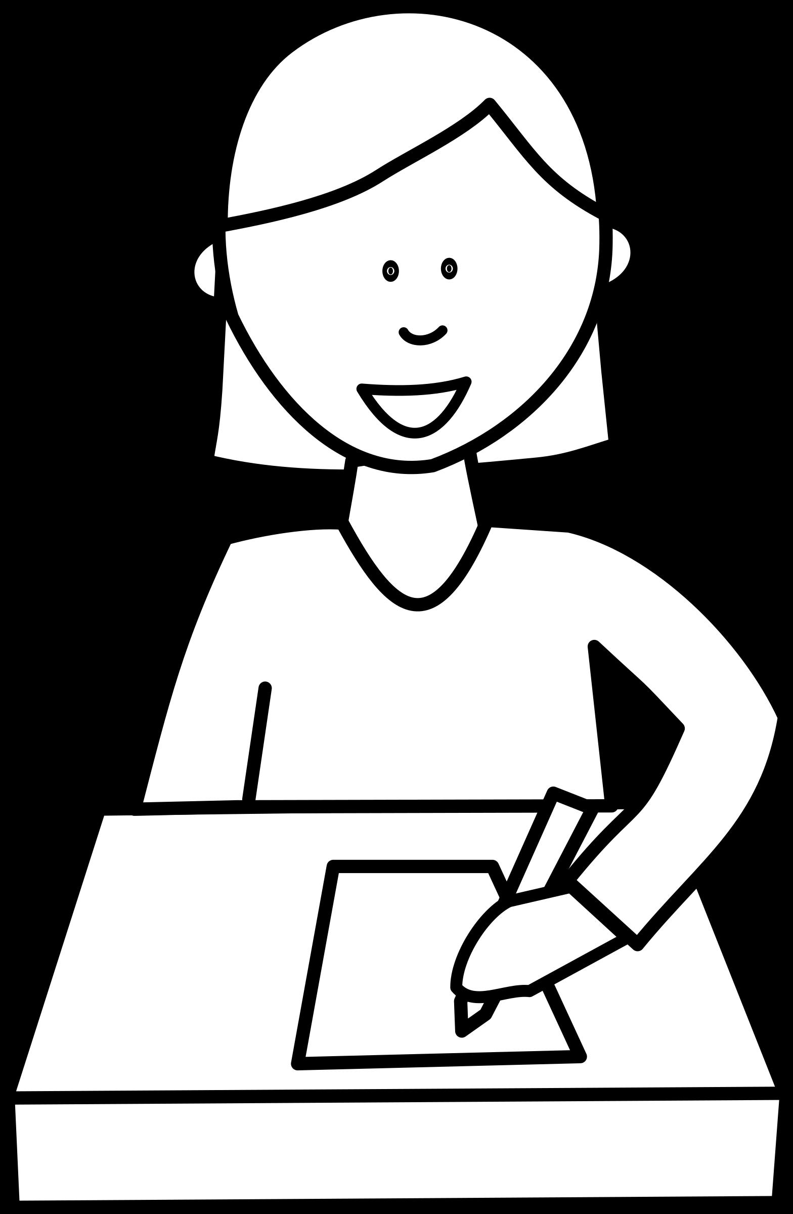 clipart - Élève écrivant / student writing