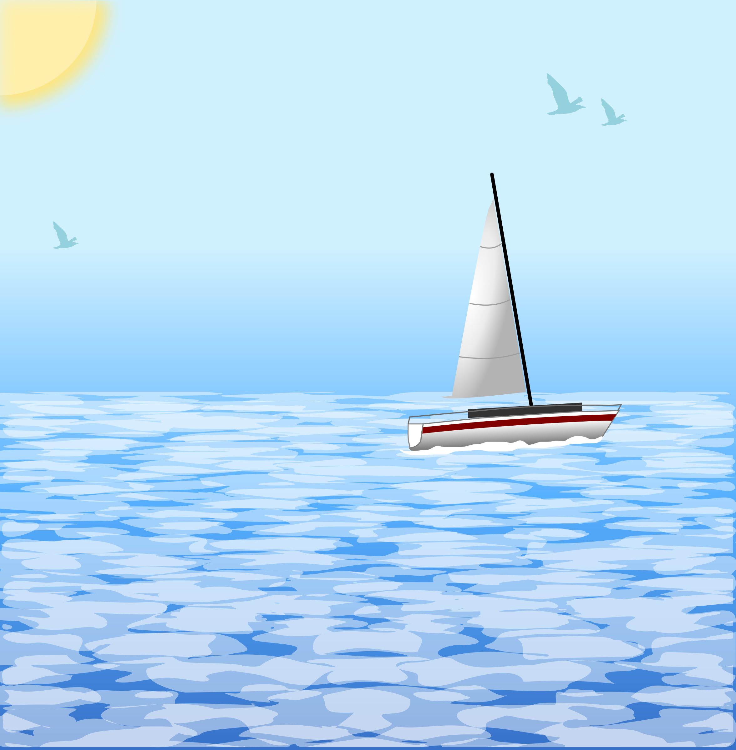 Sea scene with boat by Chrisdesign