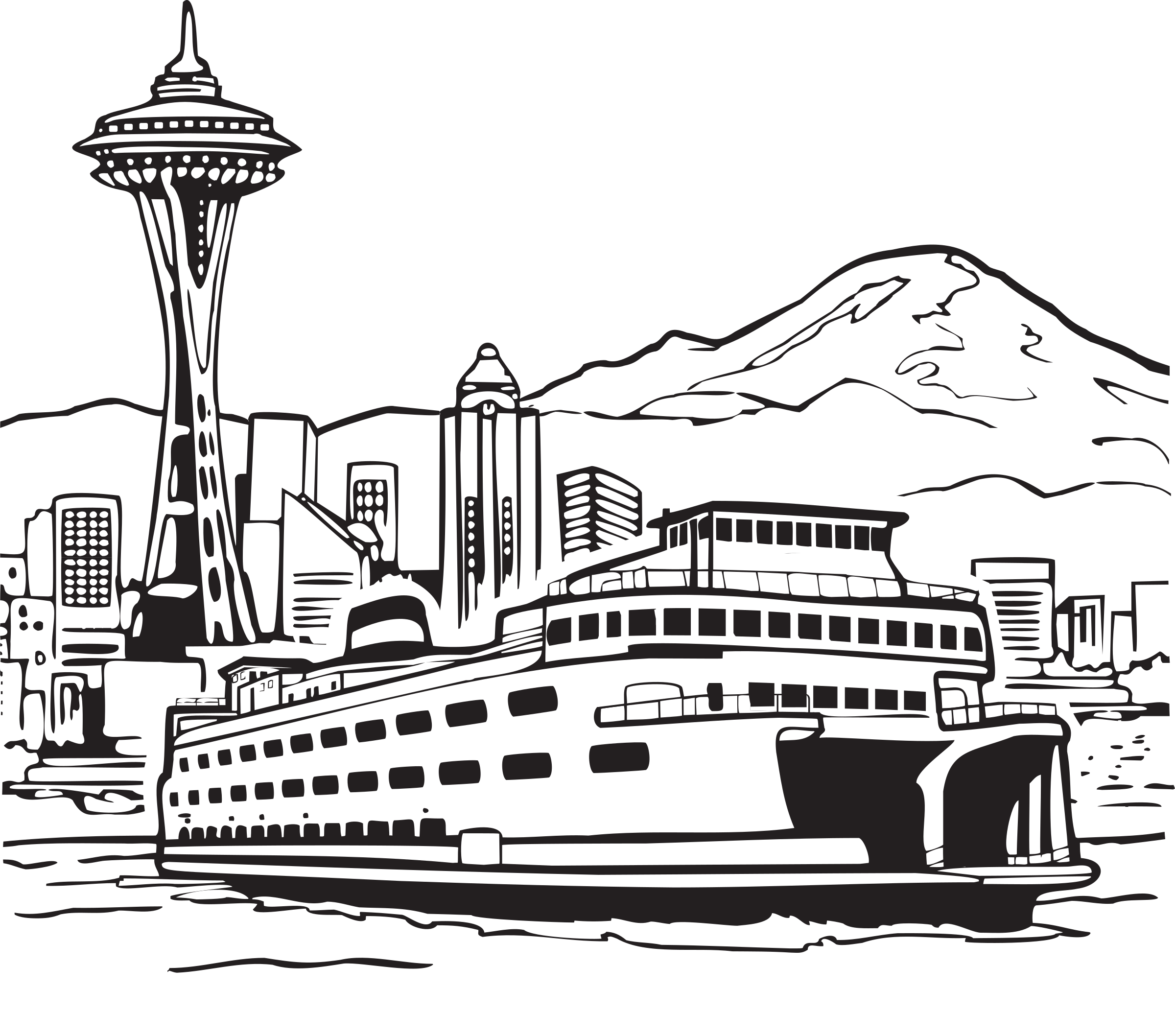 Space Needle and Ferry by FunDraw_dot_com