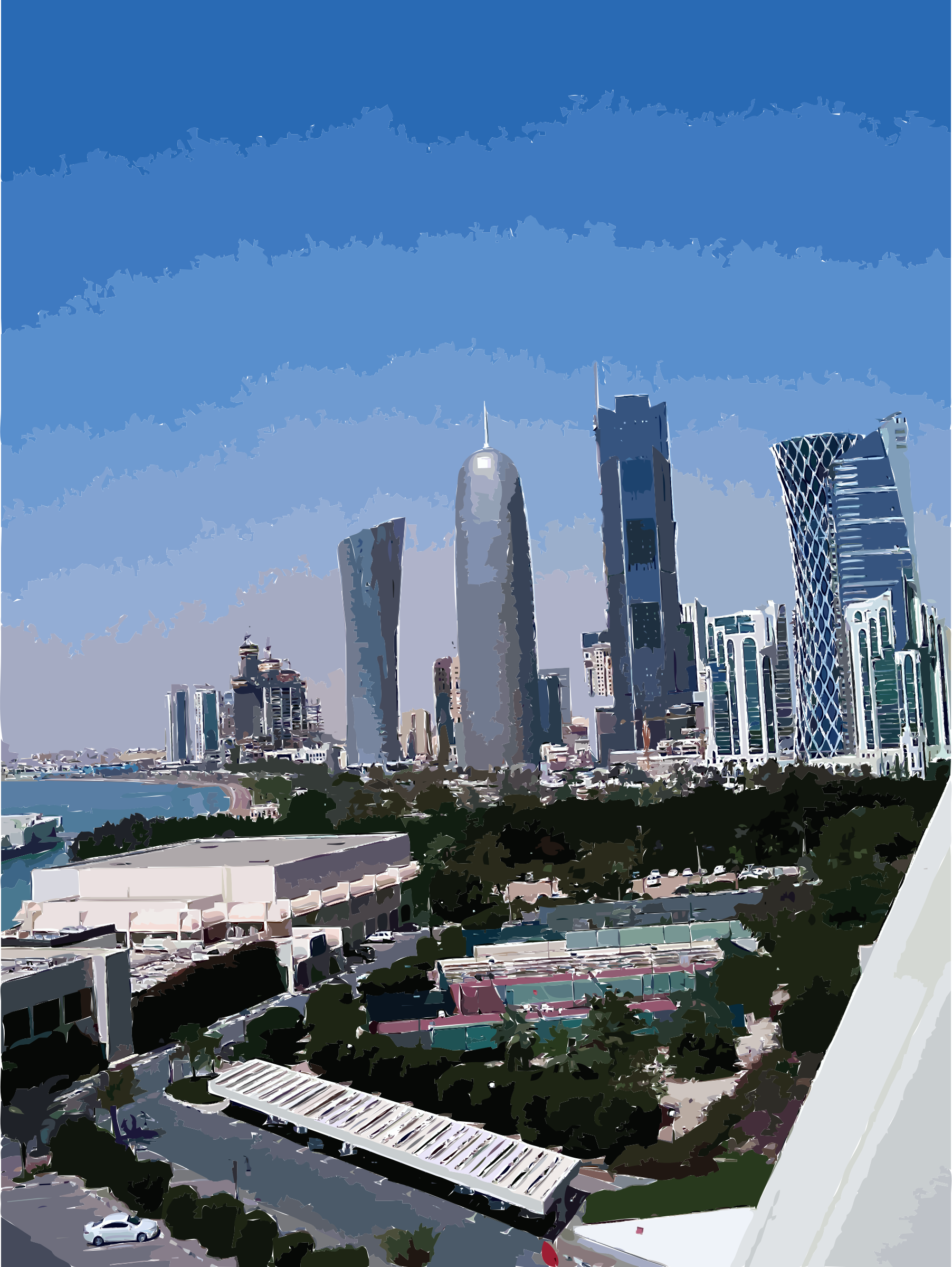 Doha towers from sheraton hotel by basselsafadi