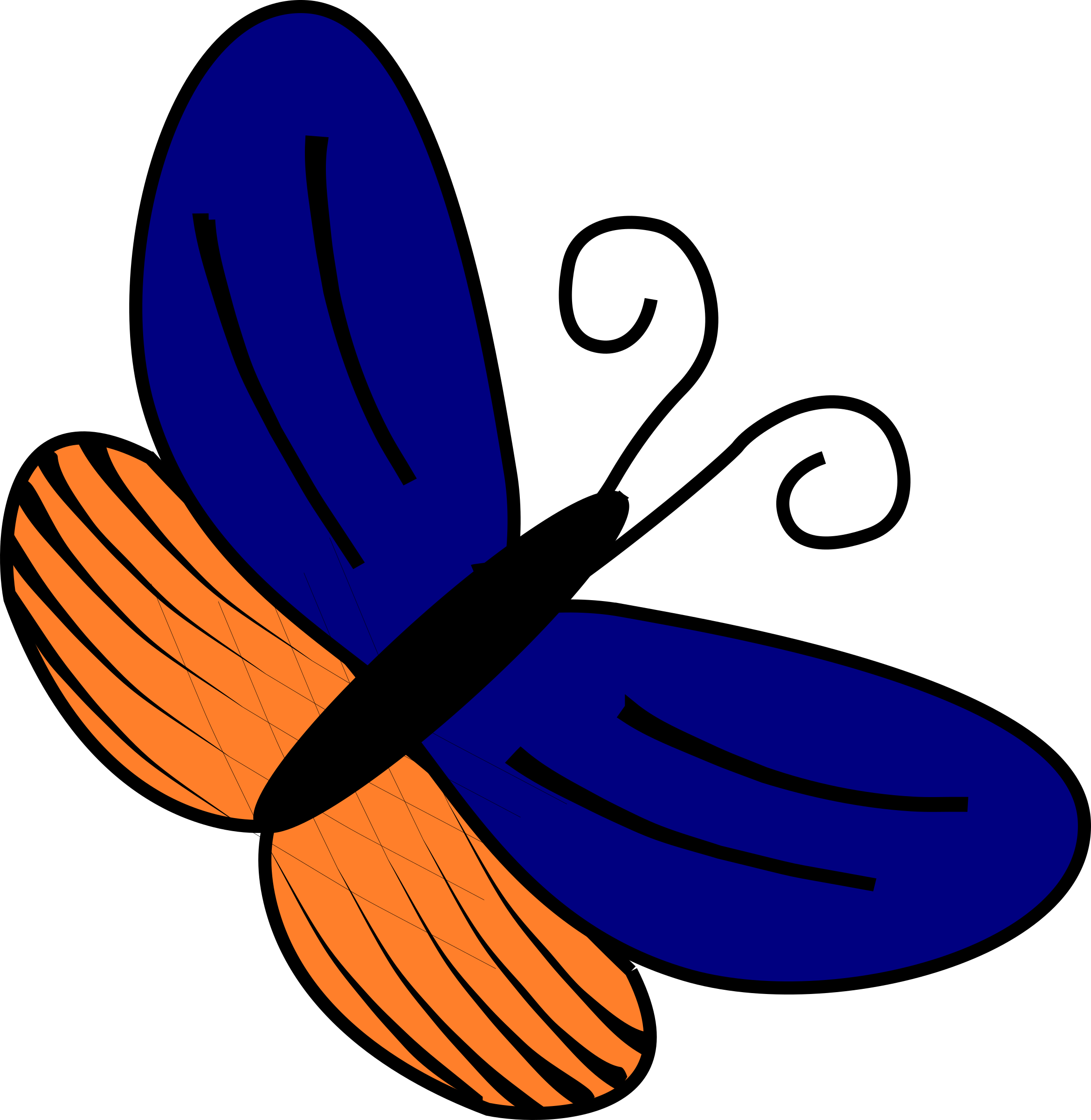 Blue and orange butterfly by MiniCesc