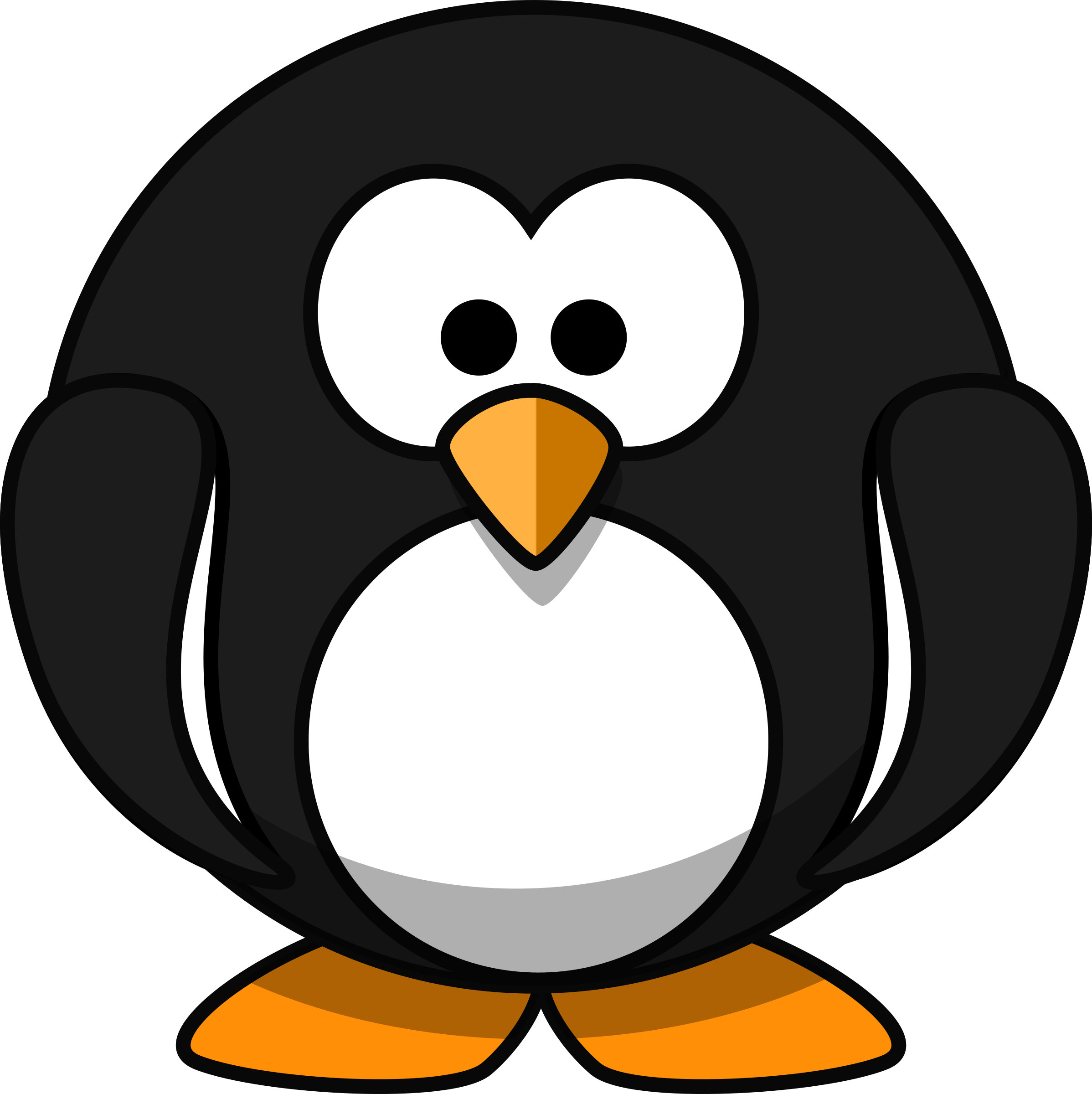 Cute round cartoon penguin (flat colors) by qubodup