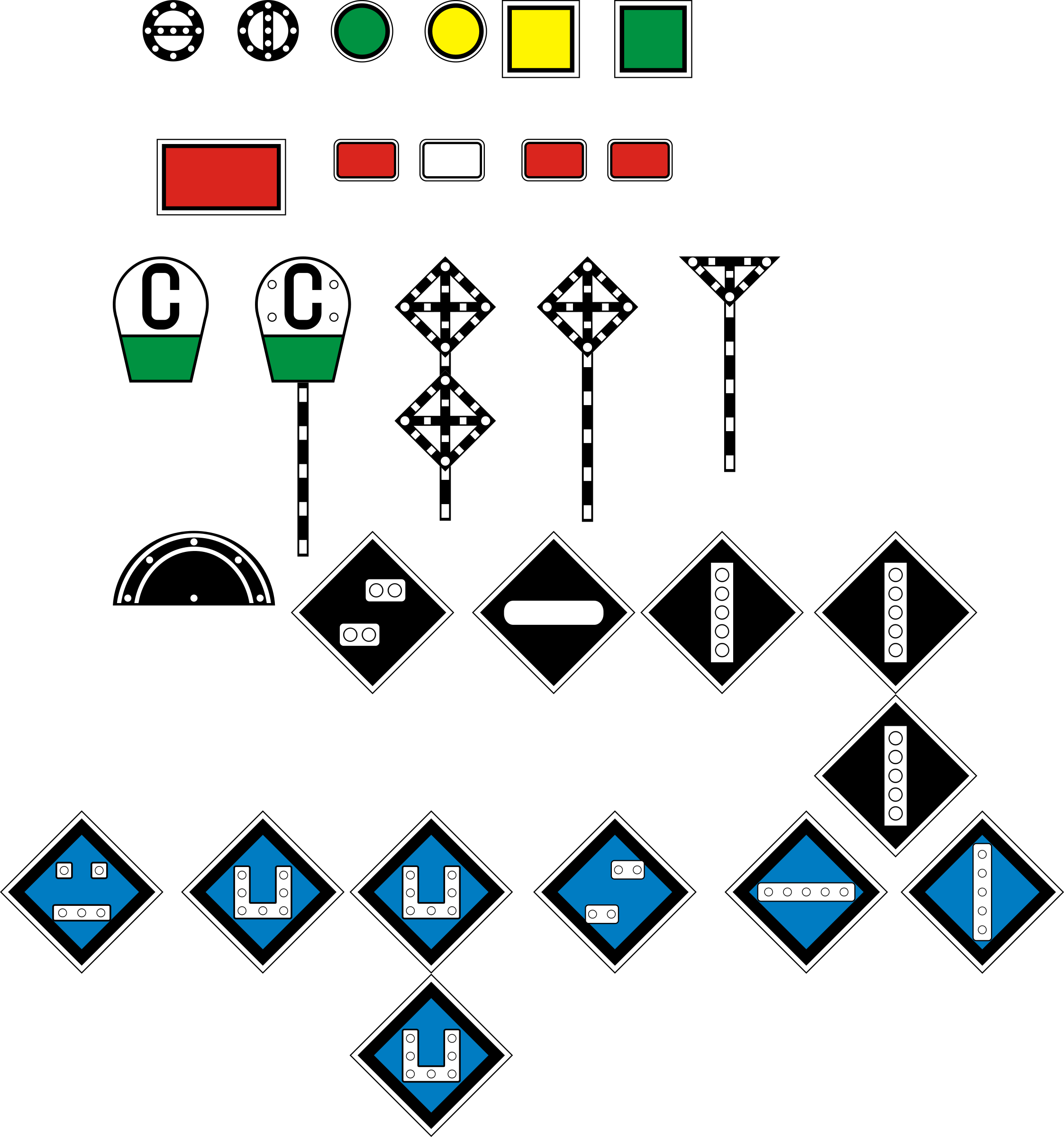 Russian (Soviet) signs of travel and signaling railways by rones