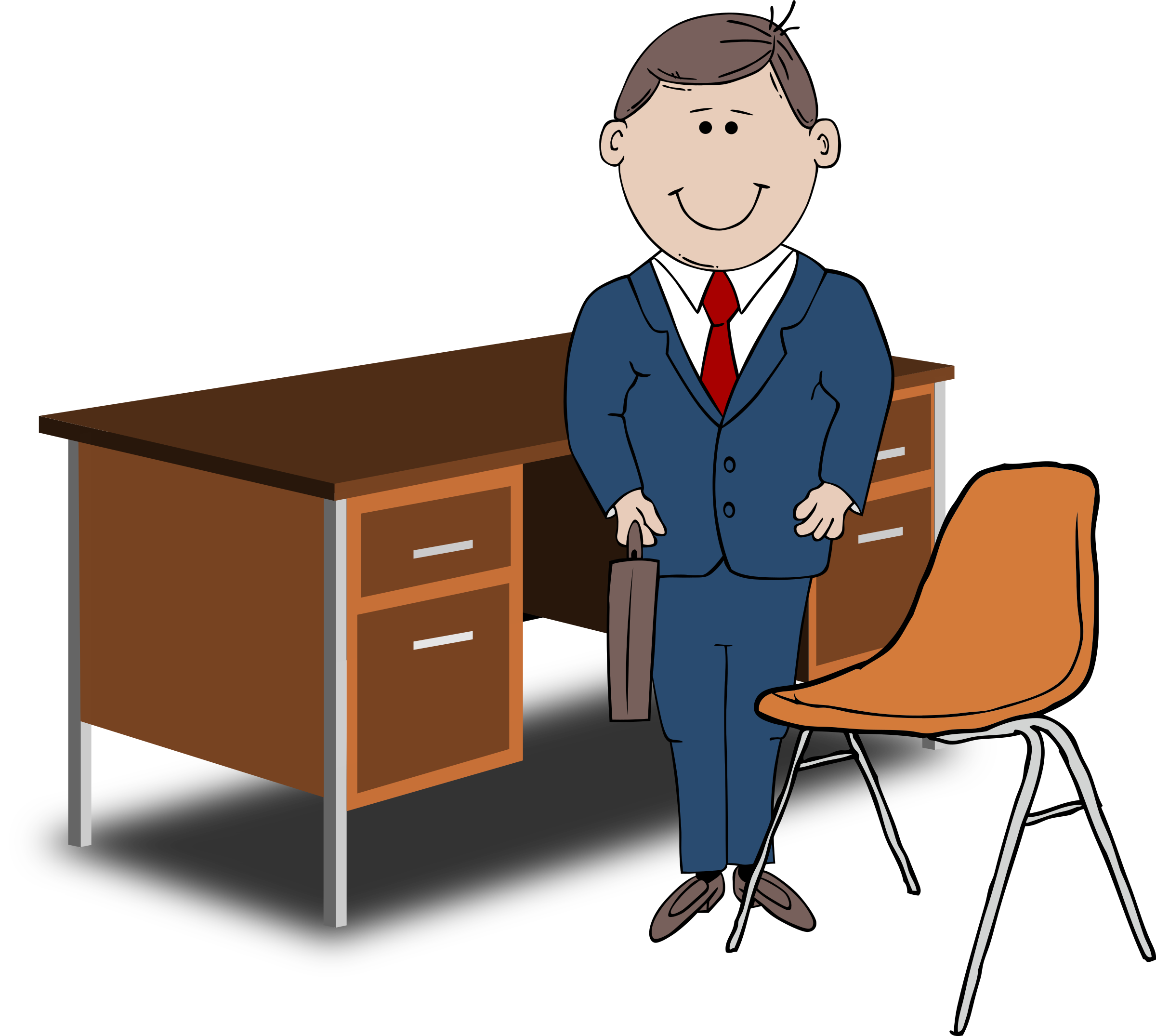 Schreibtisch clipart  Clipart - Teacher / Manager between chair and desk