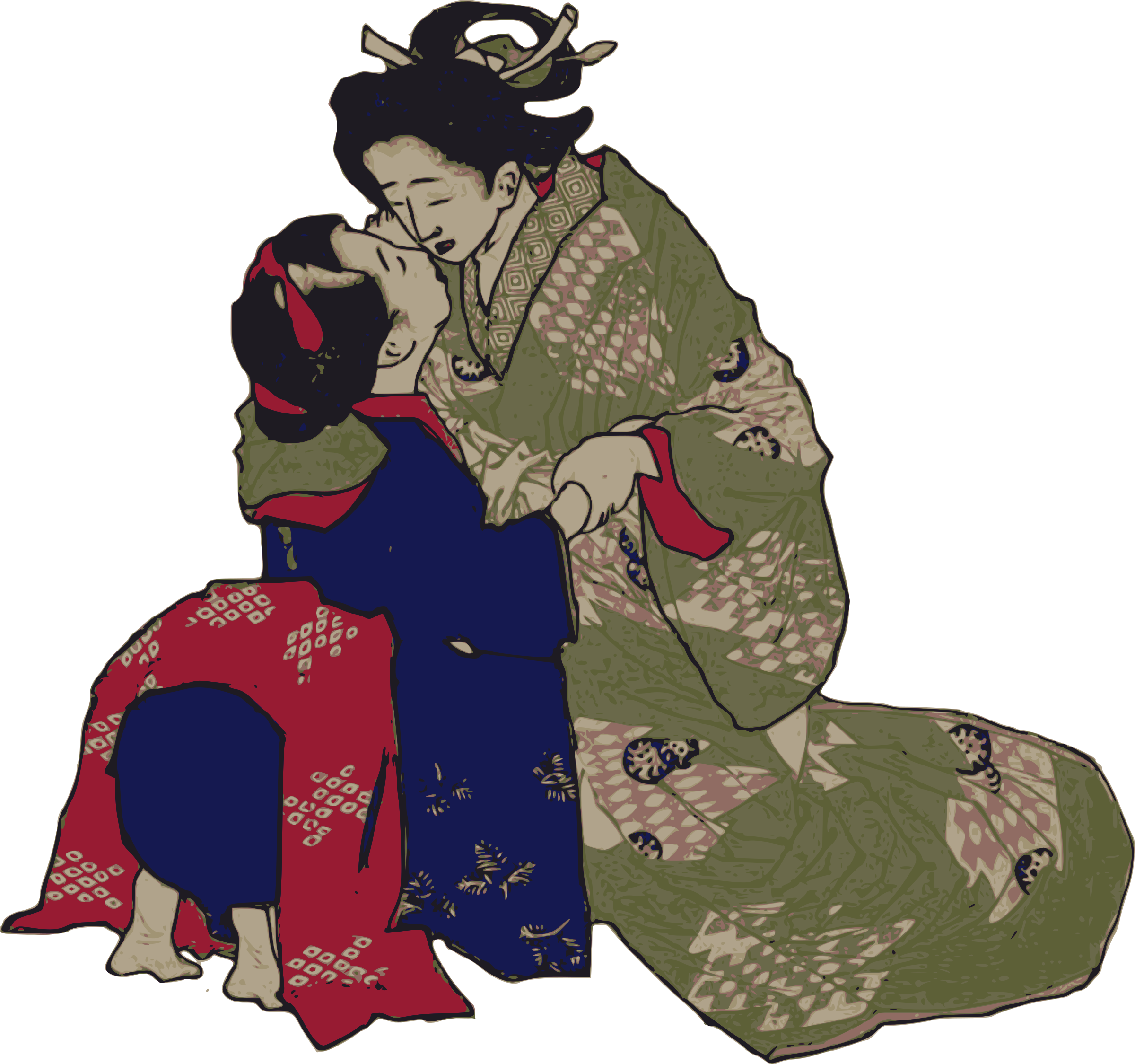 Kissing Geisha by j4p4n