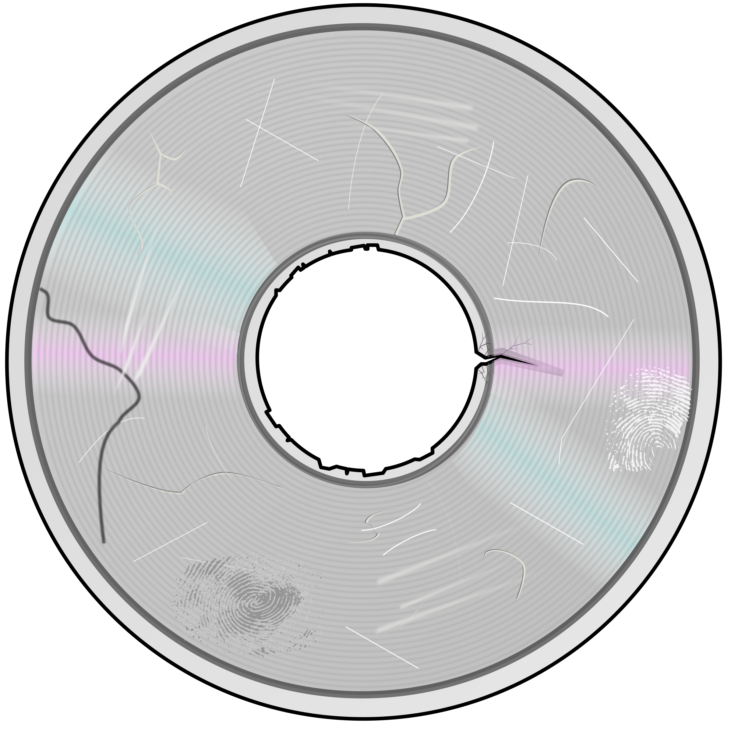 Severely Damaged Compact Disc by eady