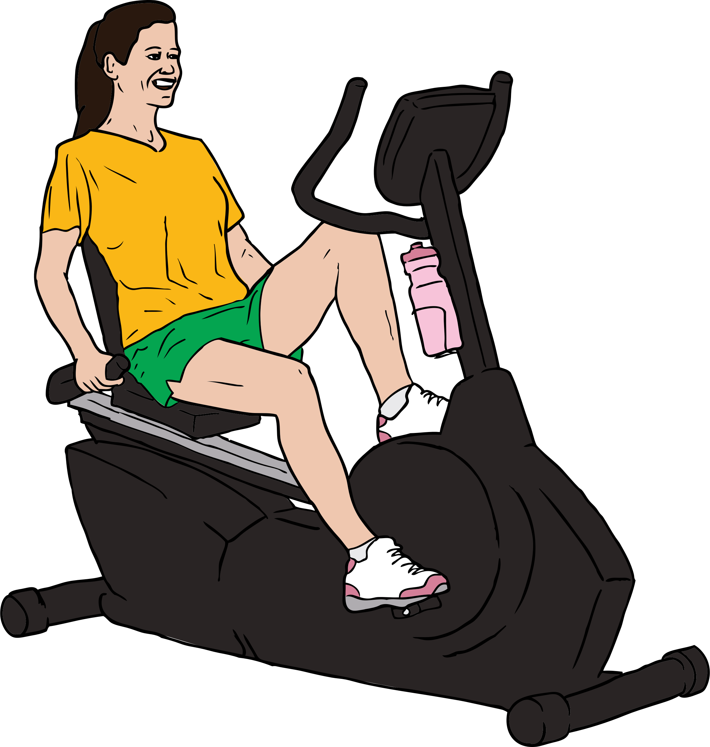 Woman on Exercise Bike by SteveLambert