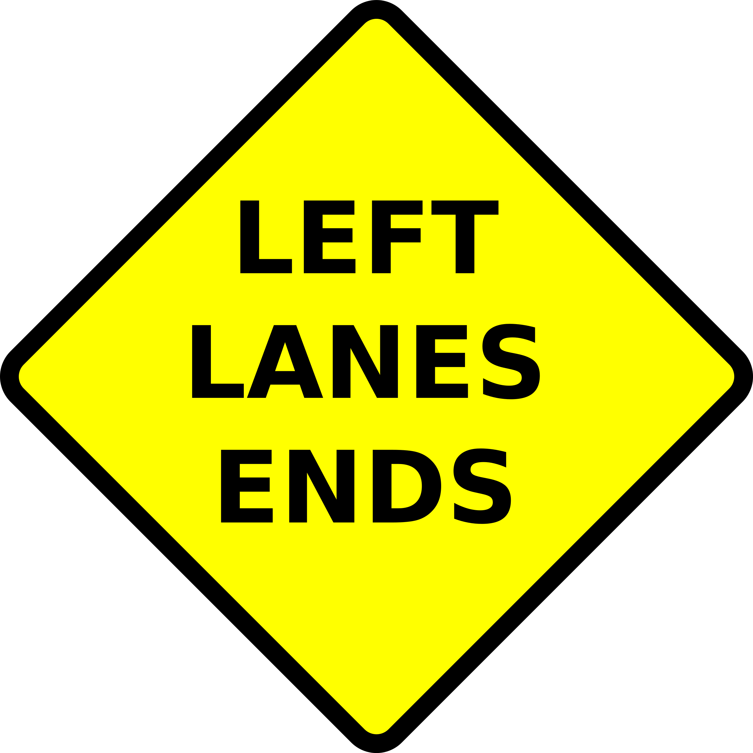 caution-left lane ends by Leomarc