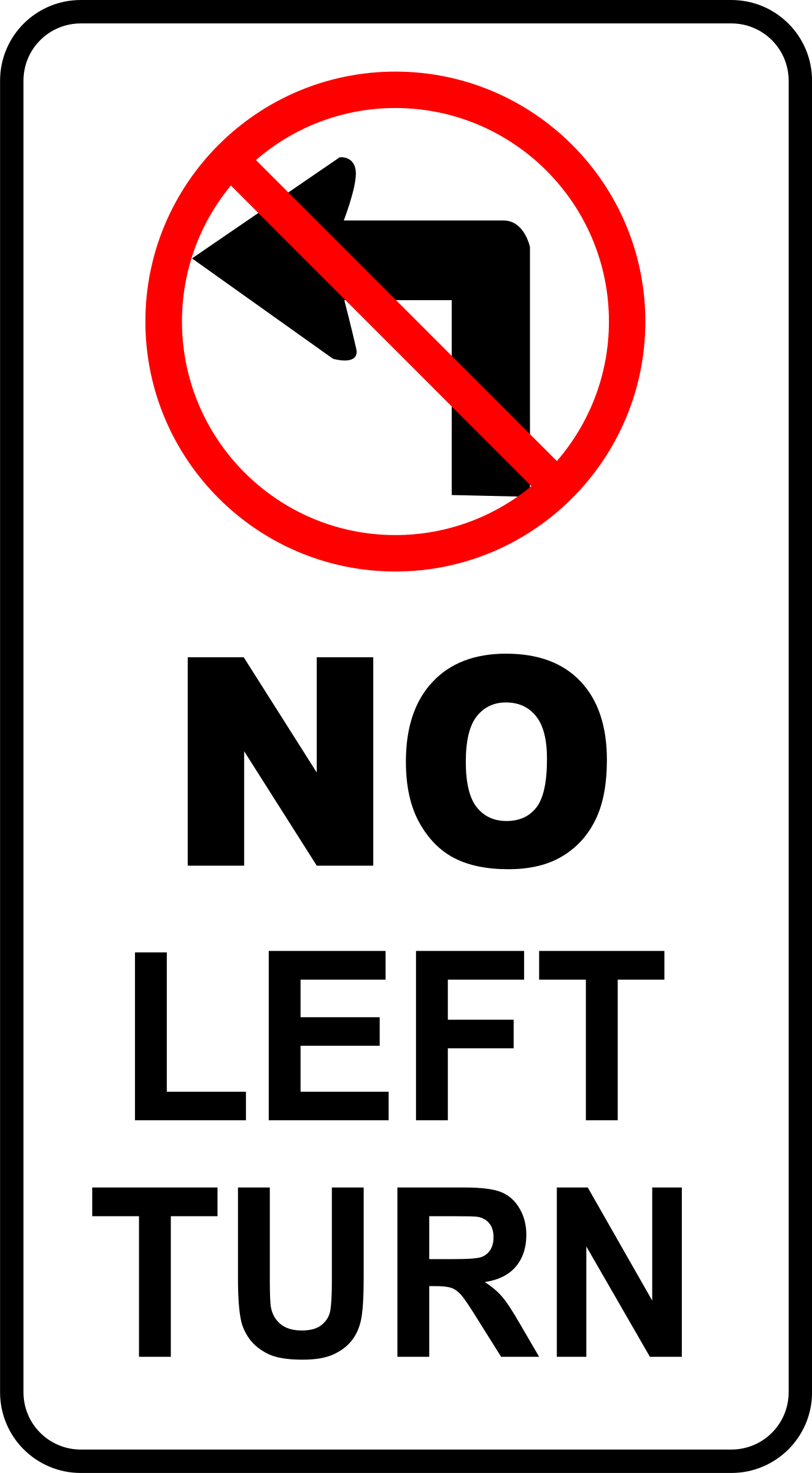 Clipart - sign-no left turn