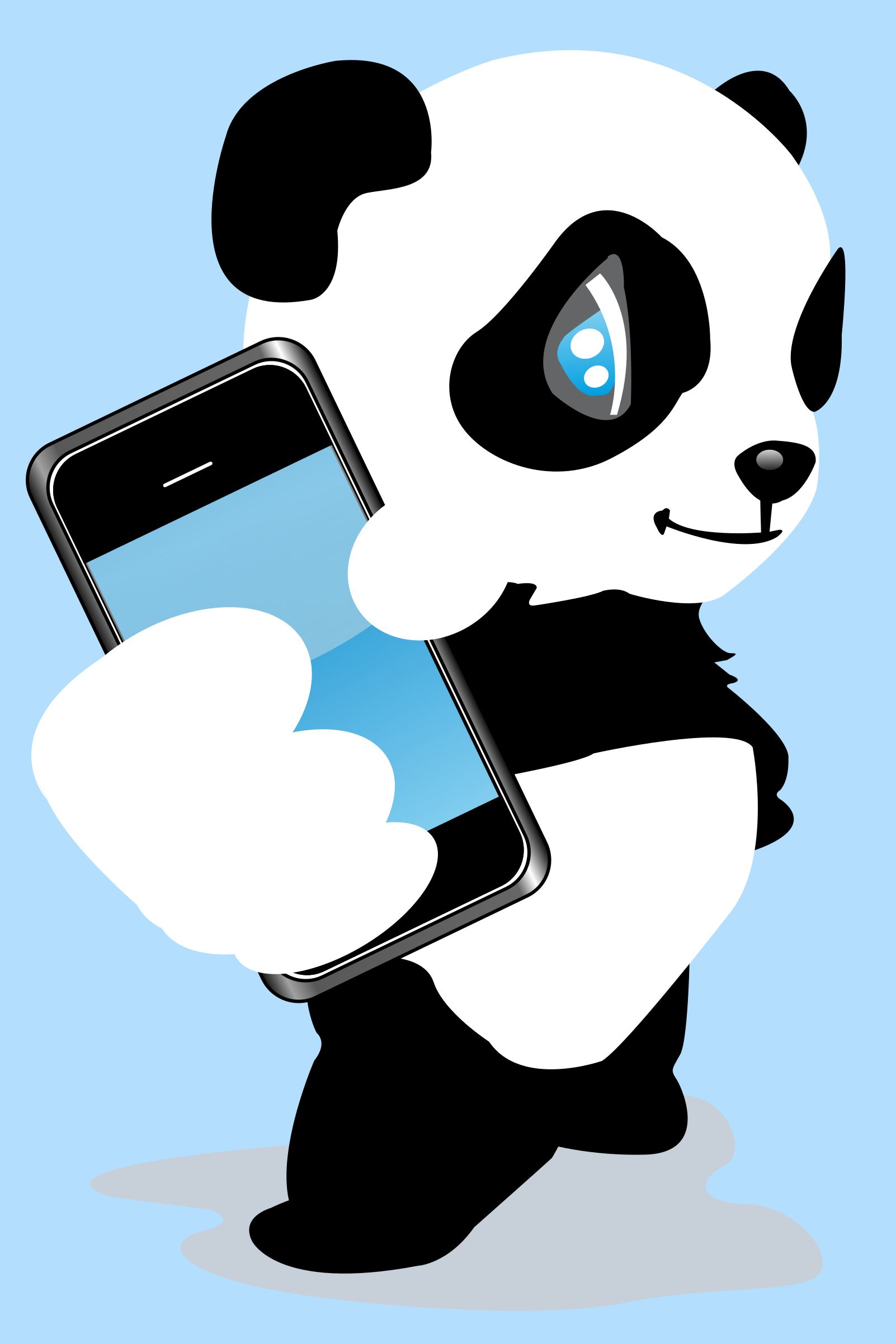 Panda with mobile phone by shokunin