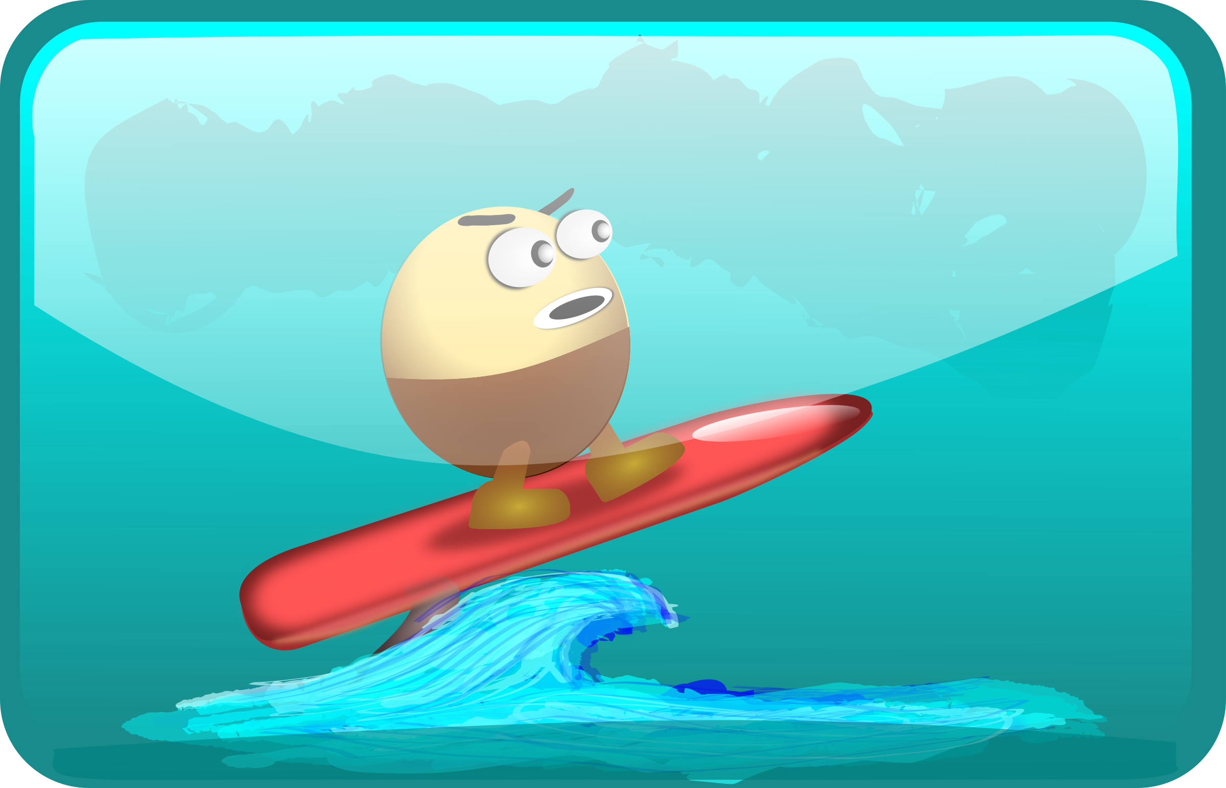 Surfing Egghead by inky2010
