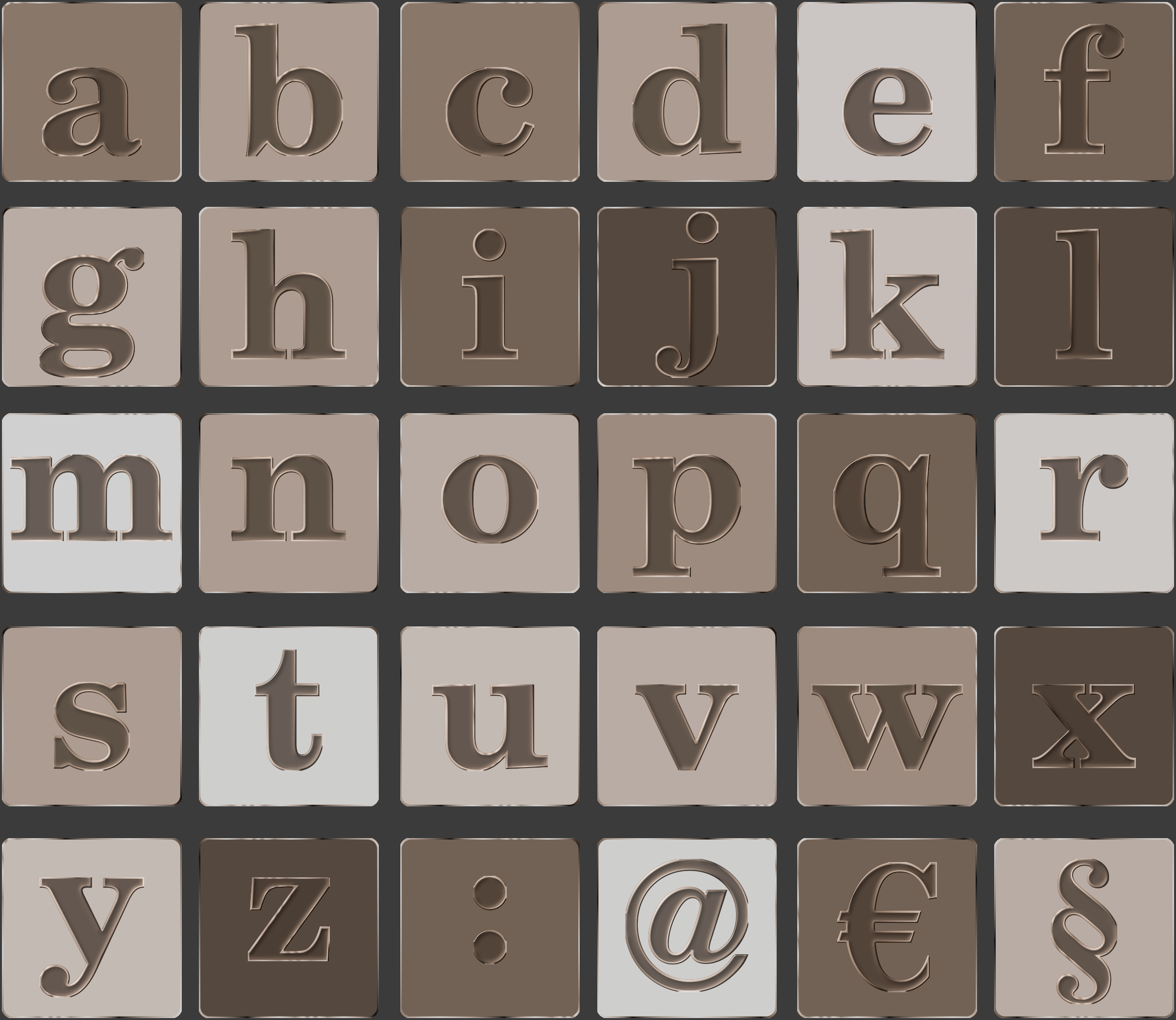 Alphabet by filtre