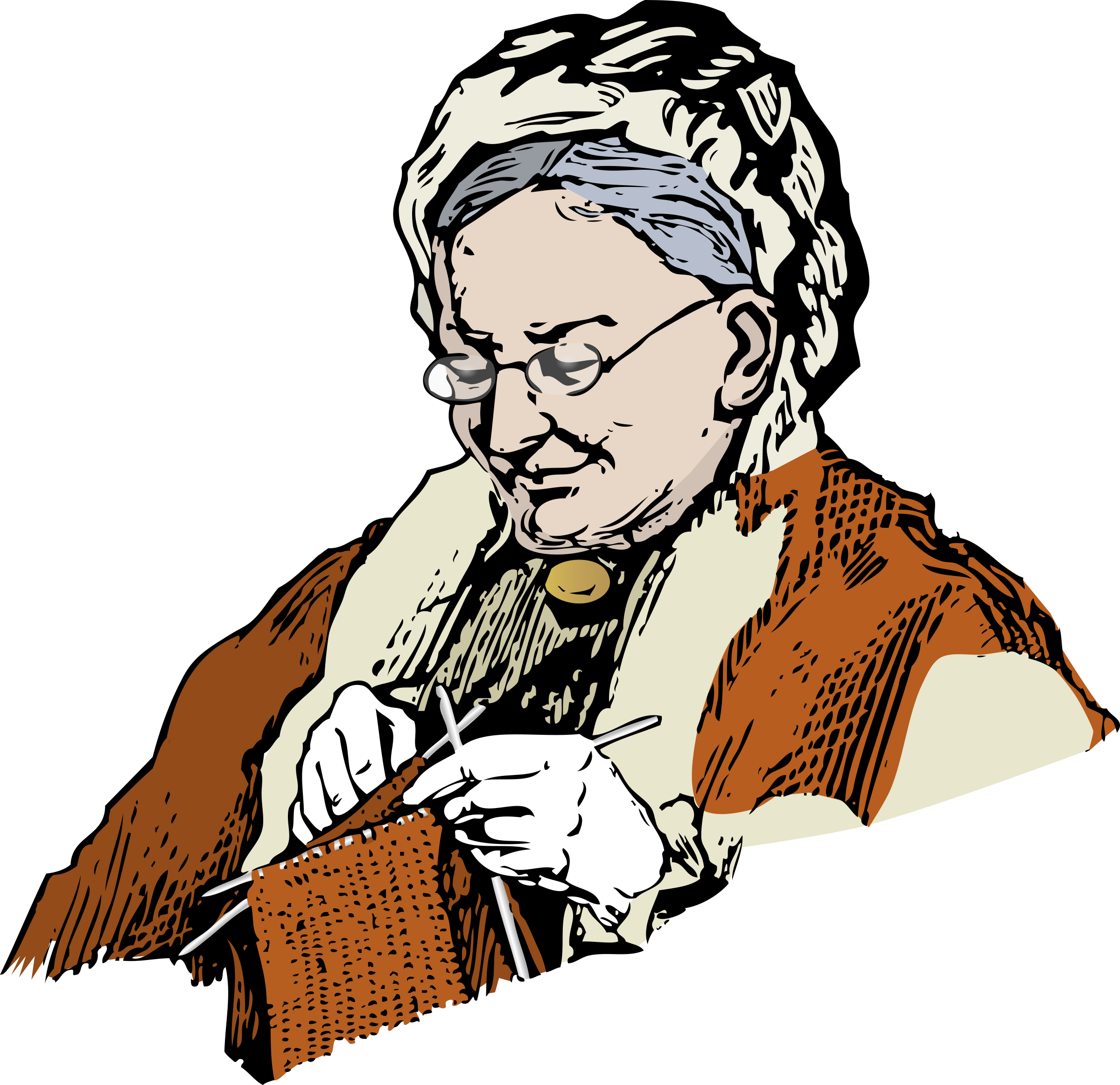 Knitting Granny by eady