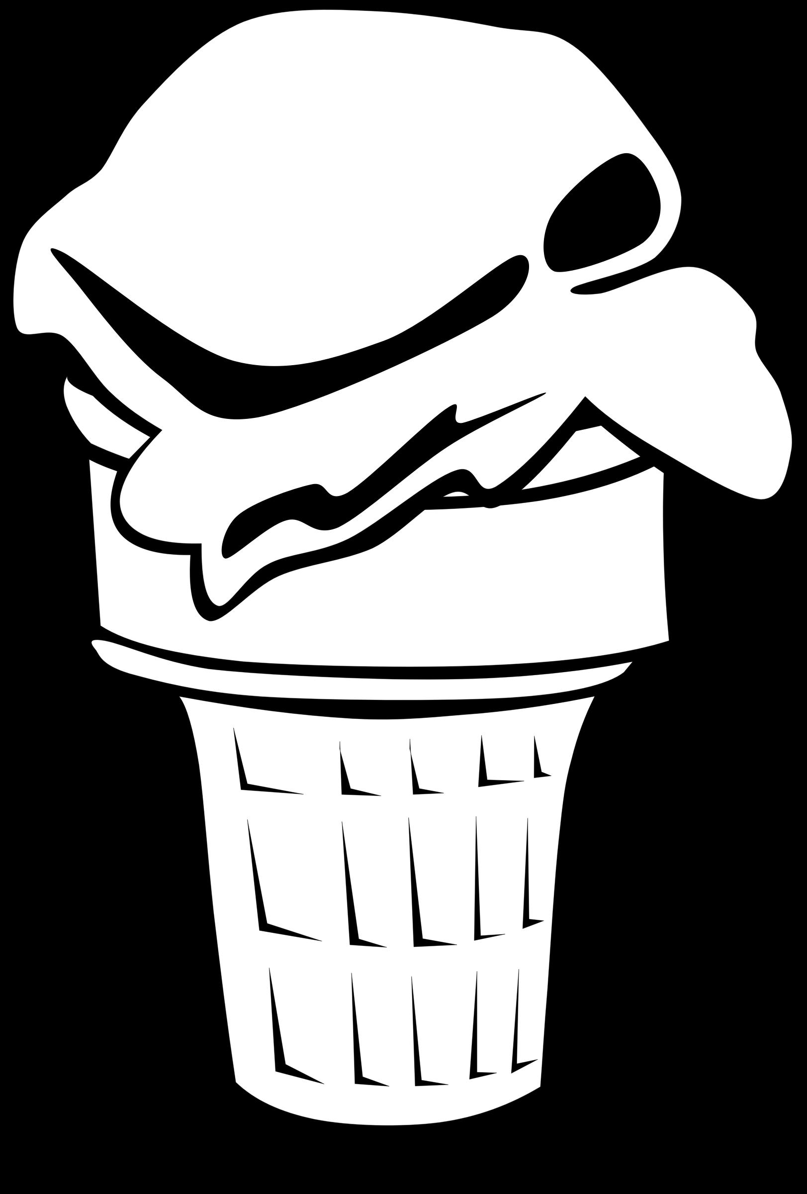 Clipart - Fast Food, Desserts, Ice Cream Cone, Single for Bowl Of Ice Cream Clipart Black And White  287fsj