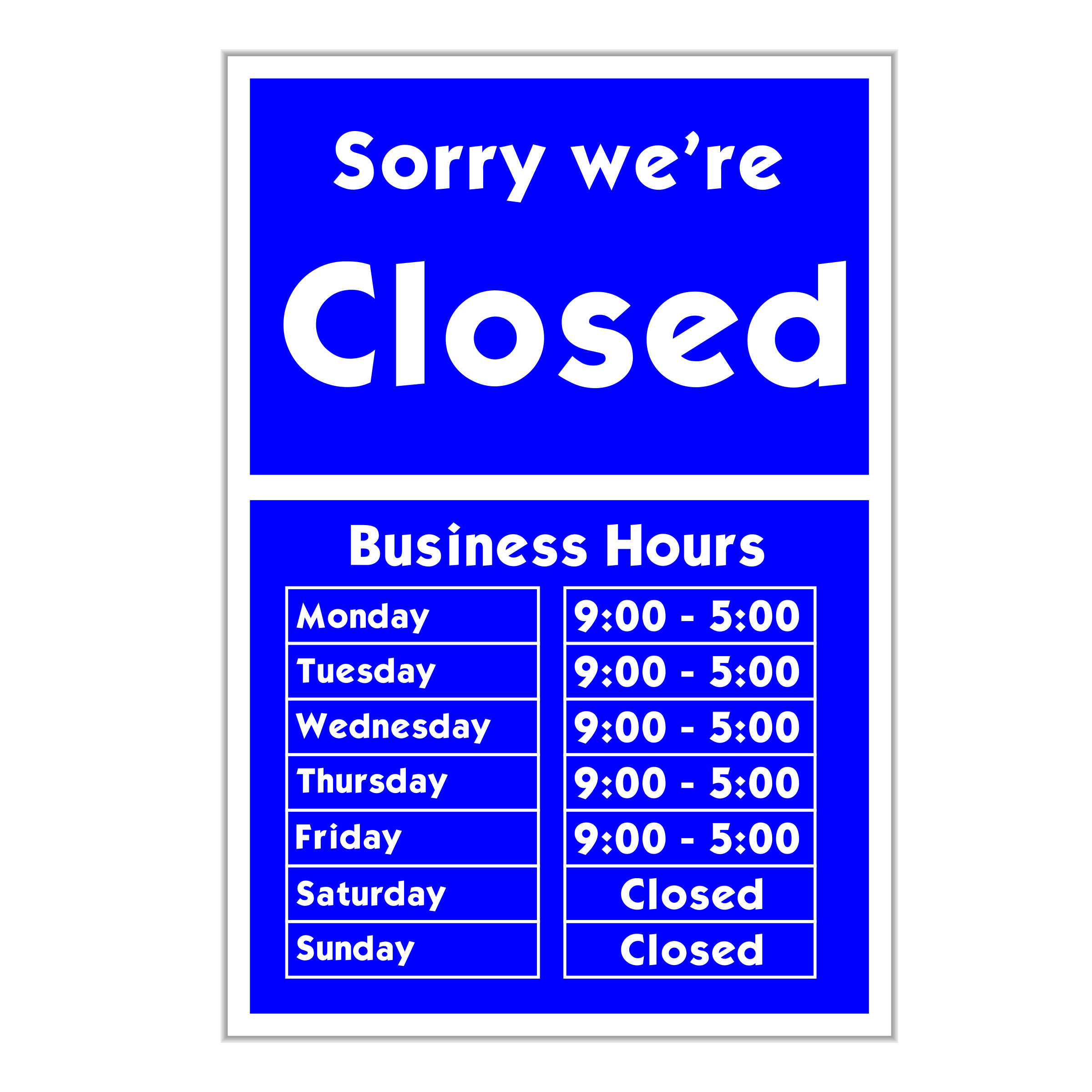 Sorry we're closed by jhnri4