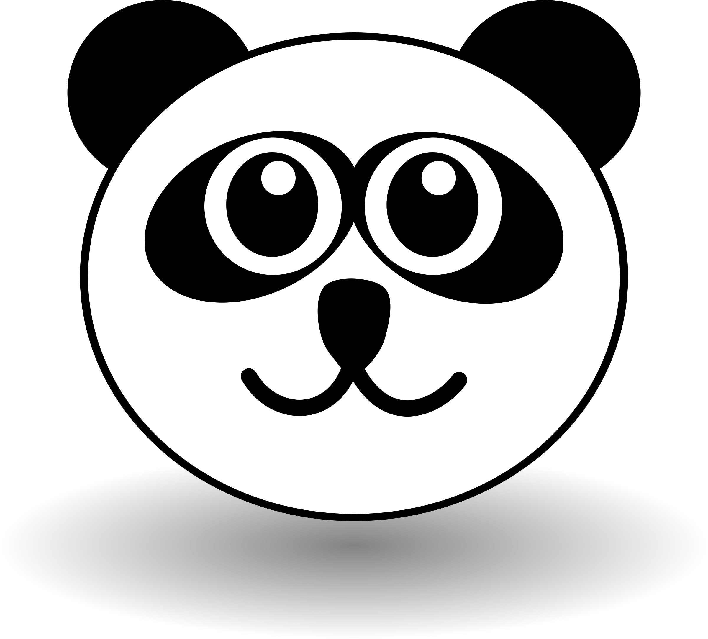 Clipart - Funny panda face black and white