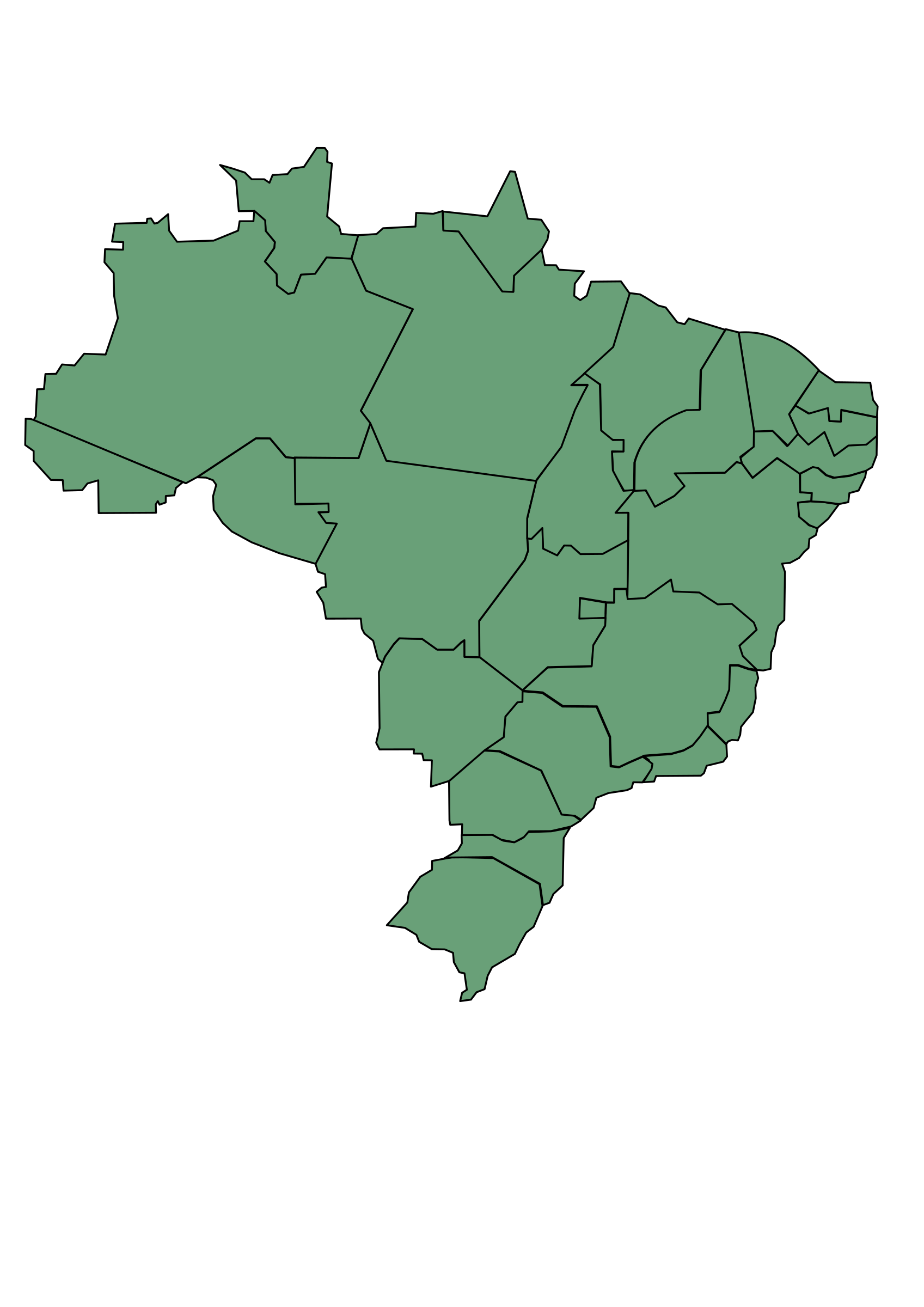Clipart Brazil Map With States - Brazil states map