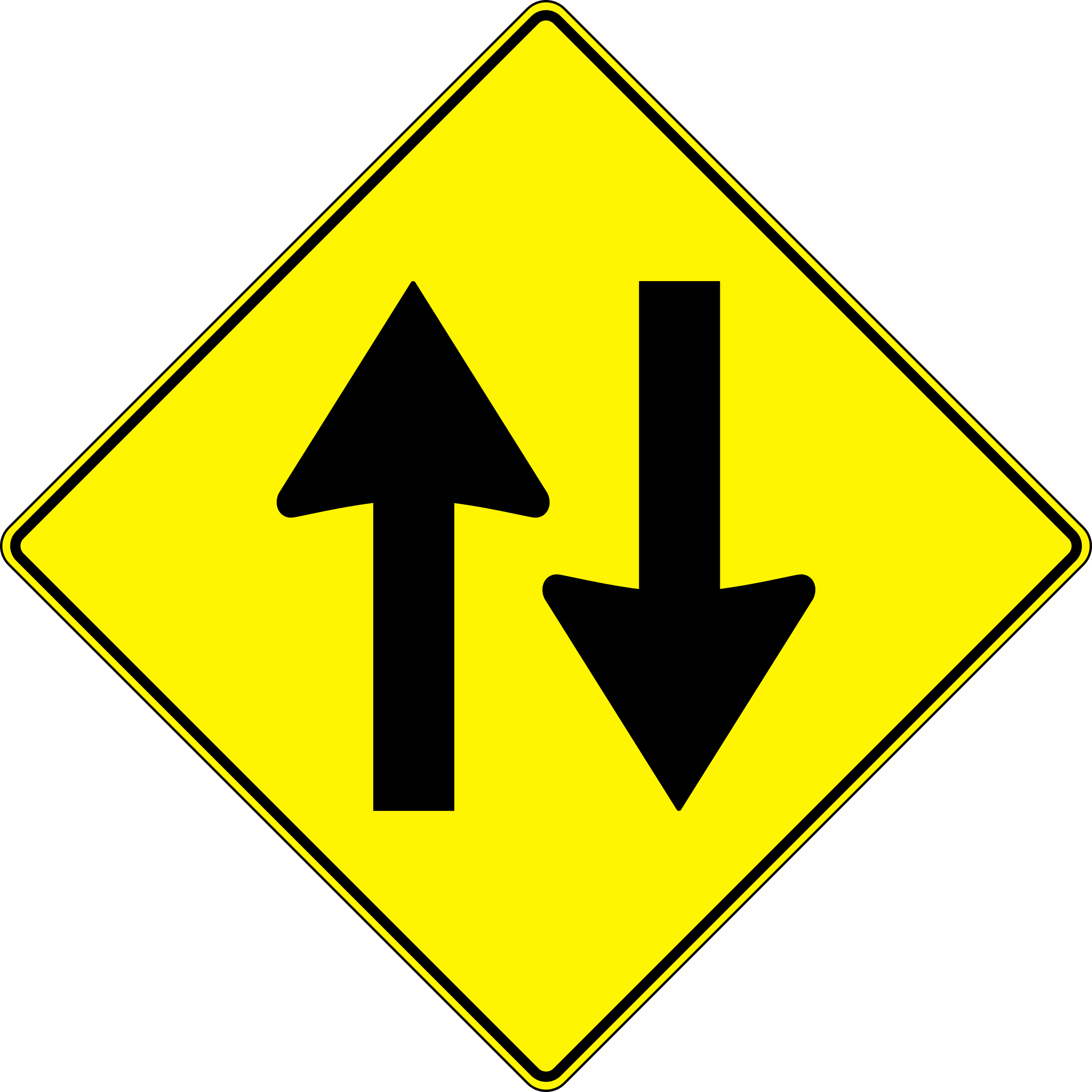 yellow road sign - two way traffic by paulprogrammer