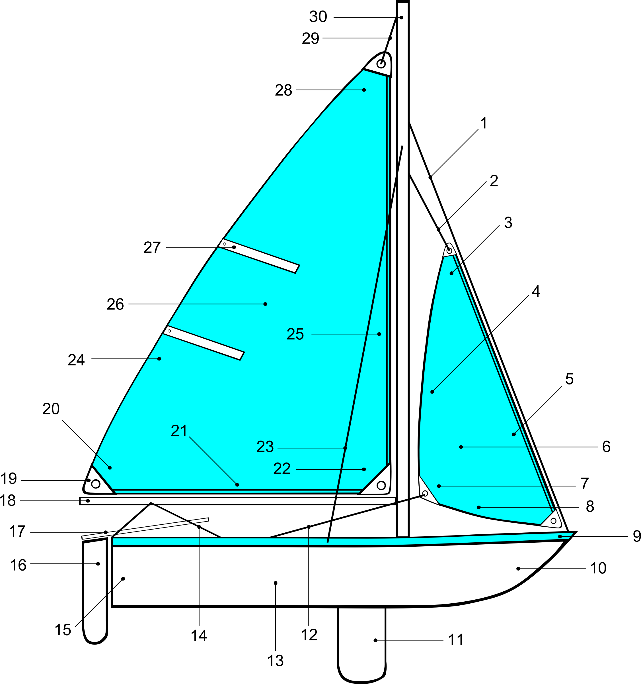 Sailing Parts of Boat Illustration by Gerald_G
