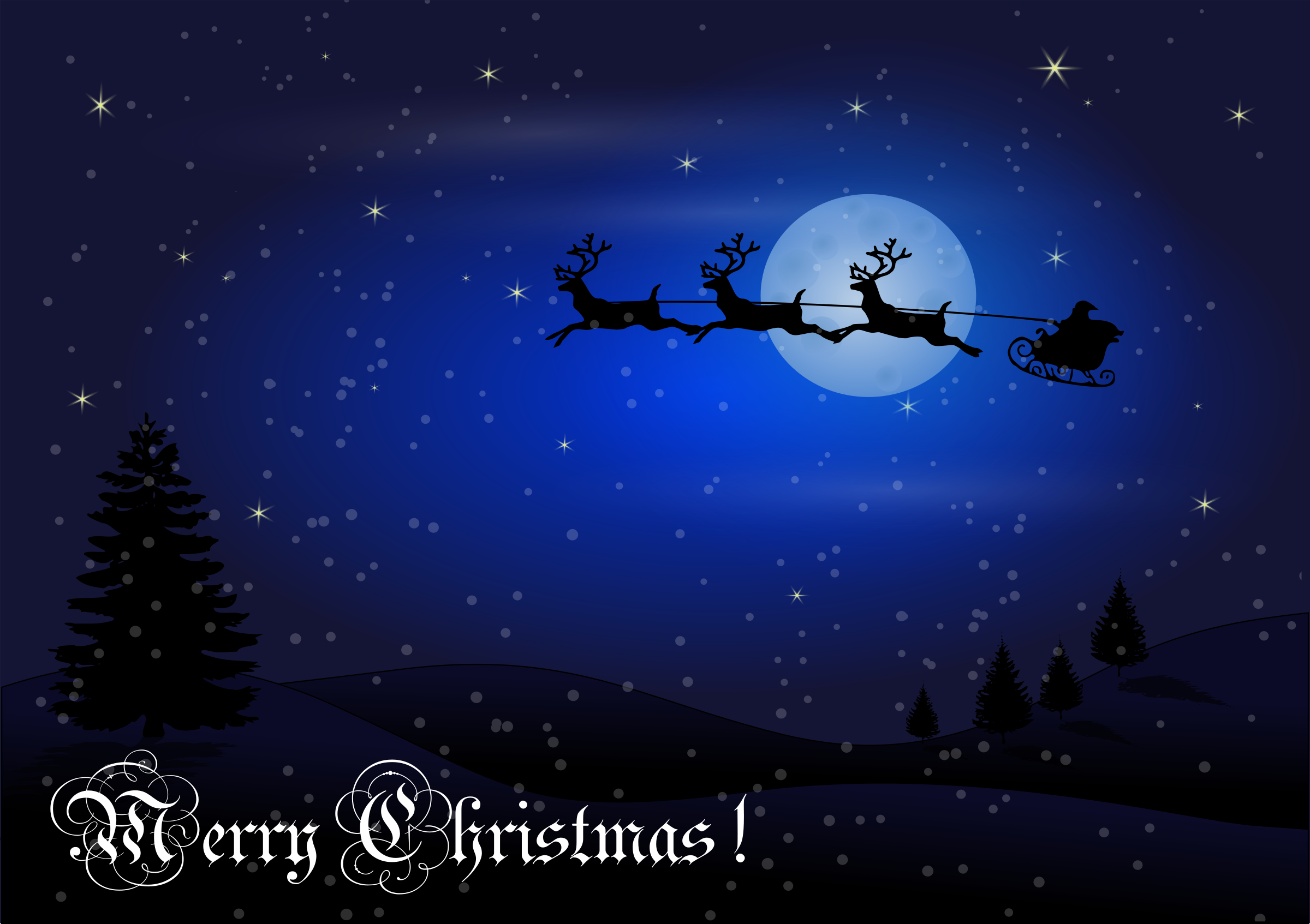 Christmas Card with Santa + Reindeer by Chrisdesign