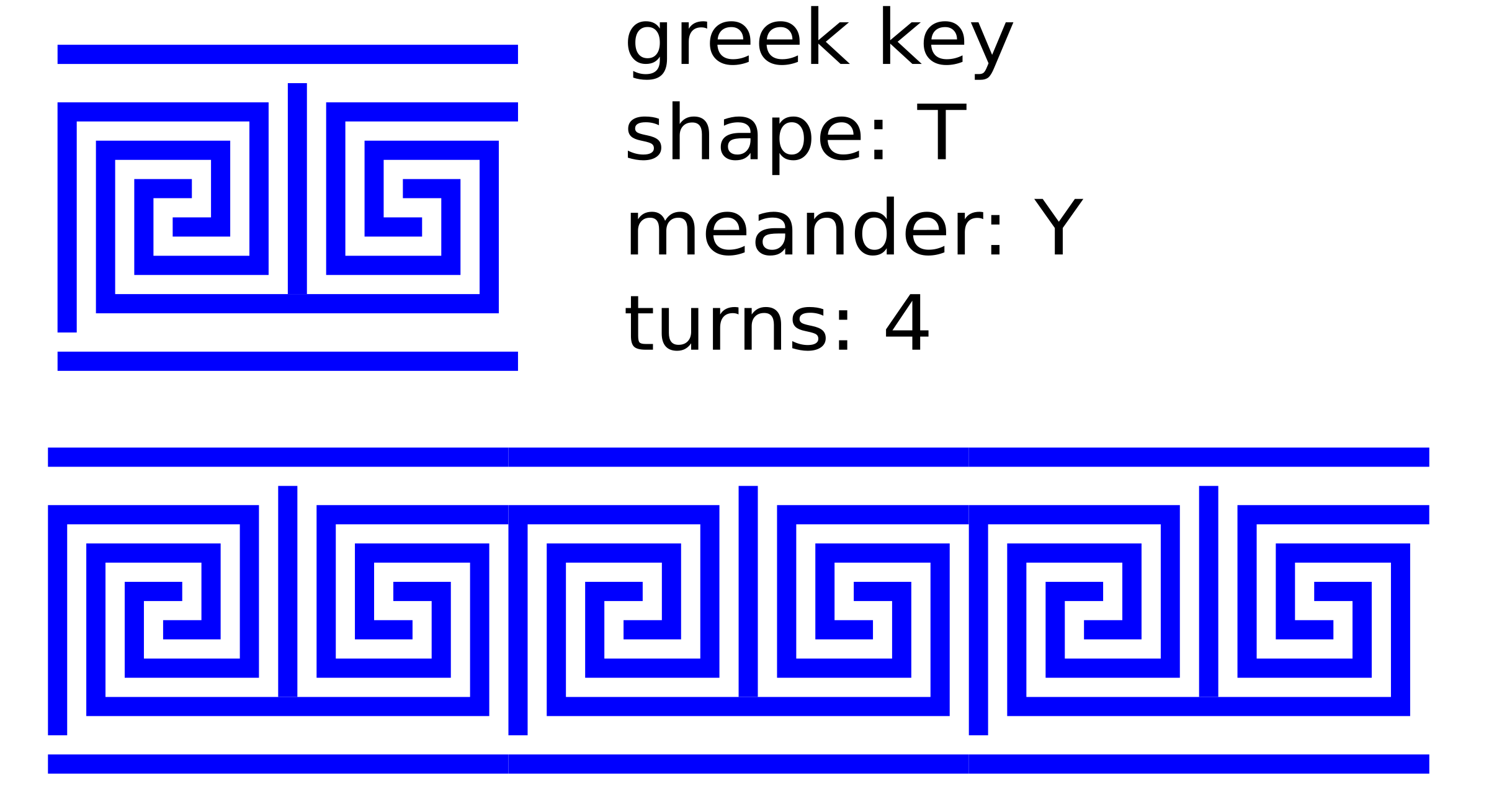 greek key T shape/4 turns/meander/lines by ovideva