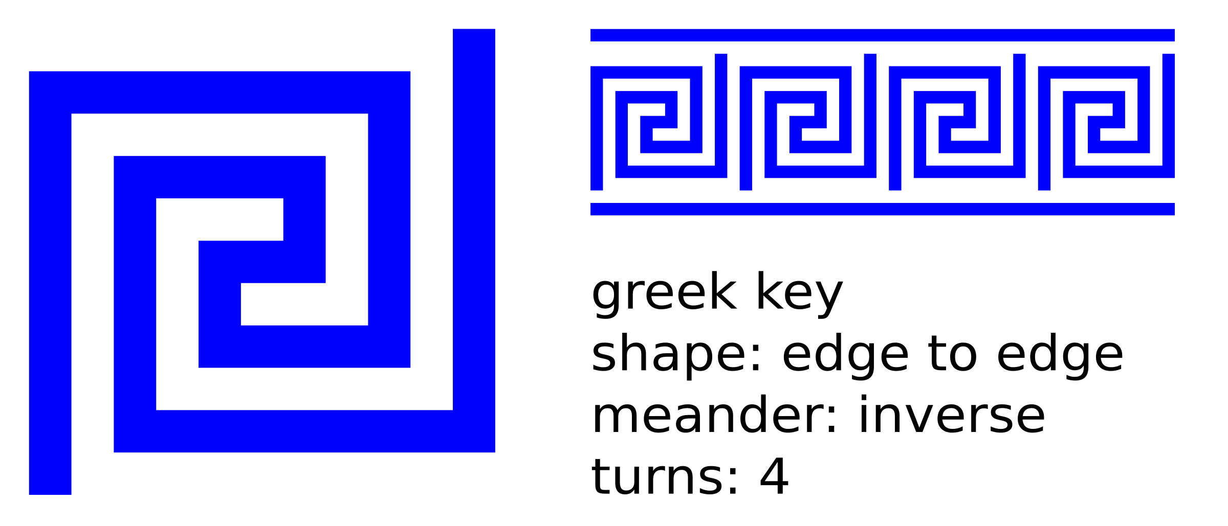 edge to edge 4 turns greek key, inverse meandre, with lines by ovideva